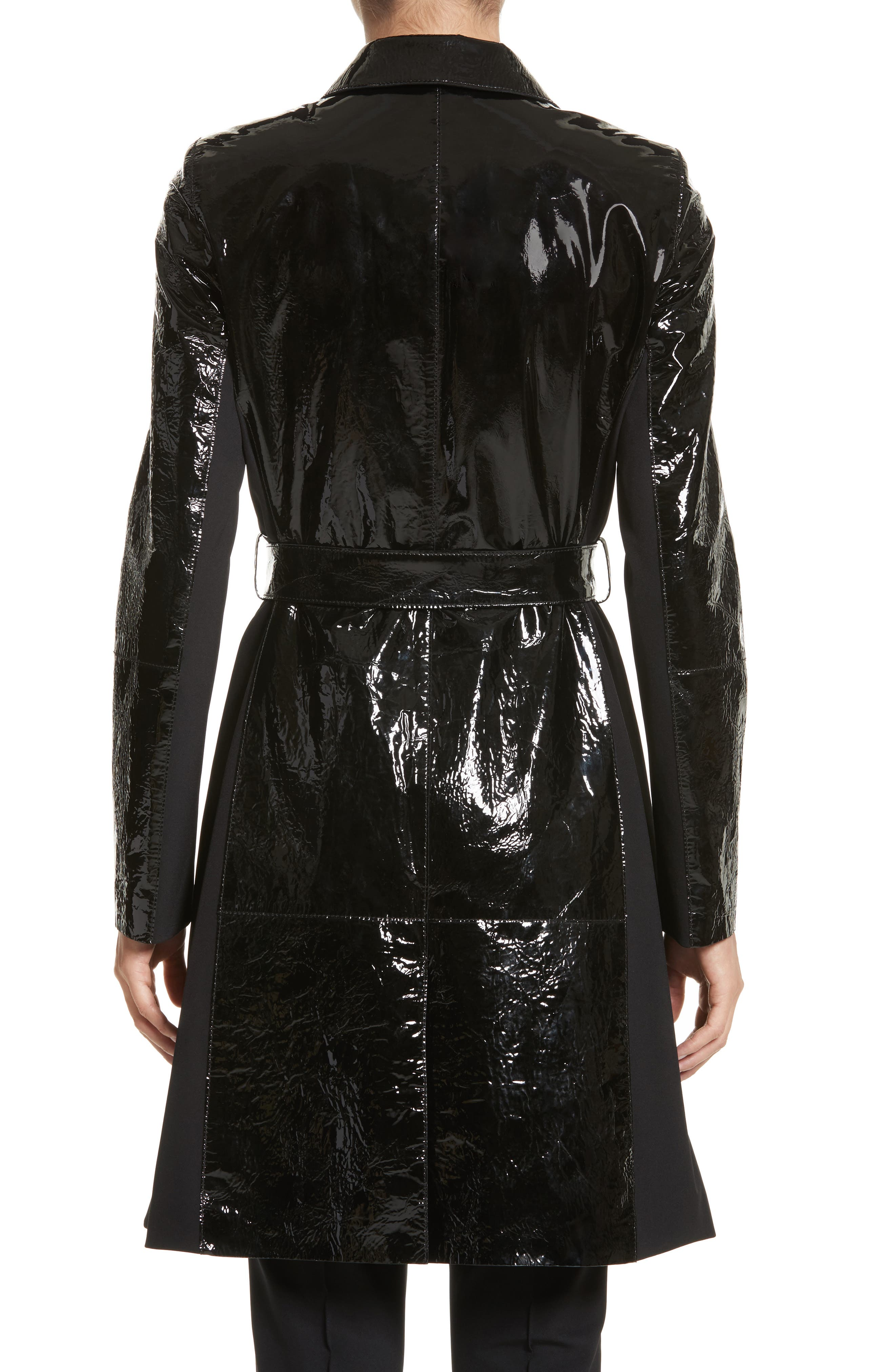 Paola Tech Combo Patent Leather Trench Coat,                             Alternate thumbnail 2, color,