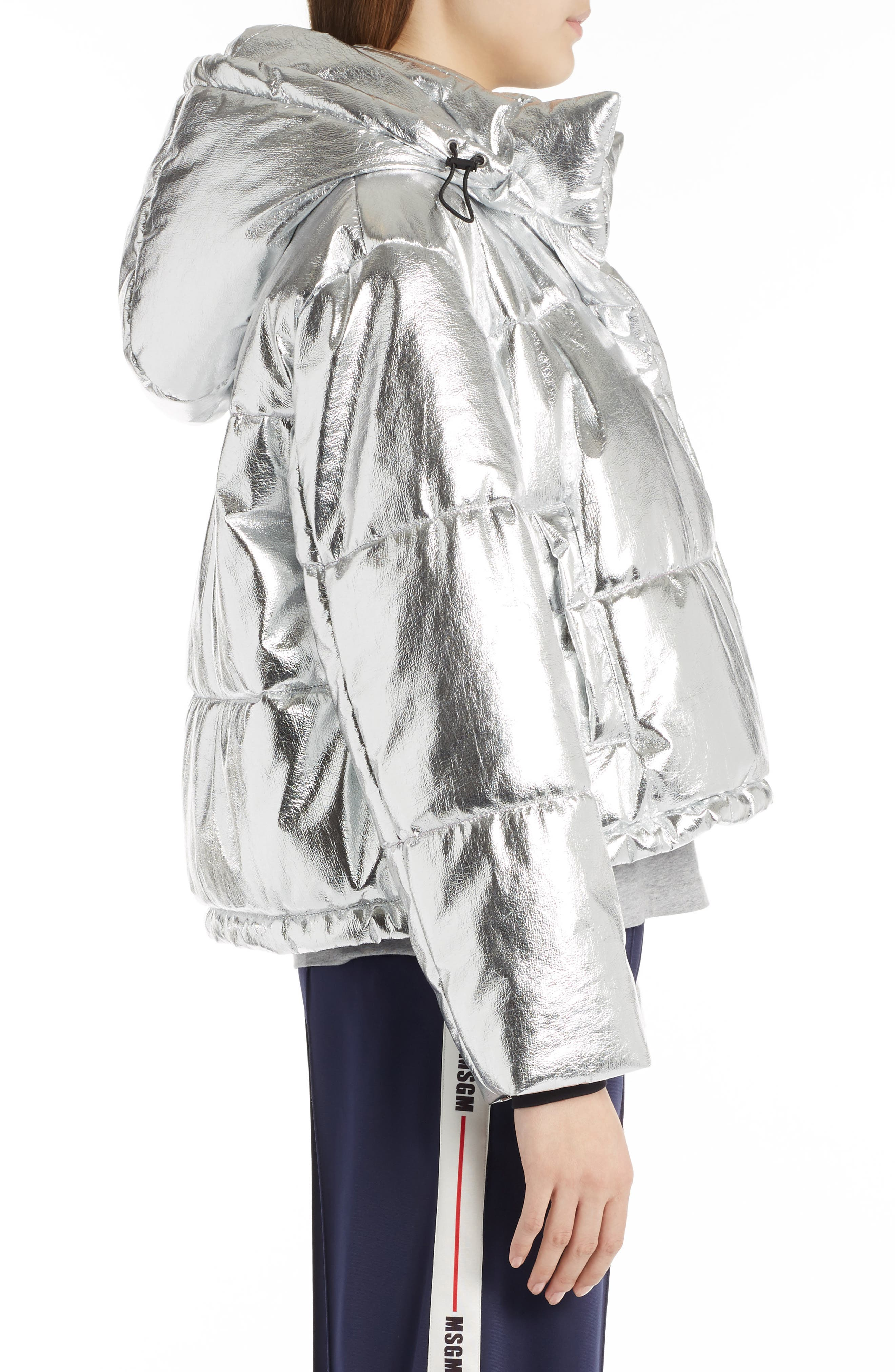 Metallic Quilted Bomber Jacket,                             Alternate thumbnail 3, color,                             040