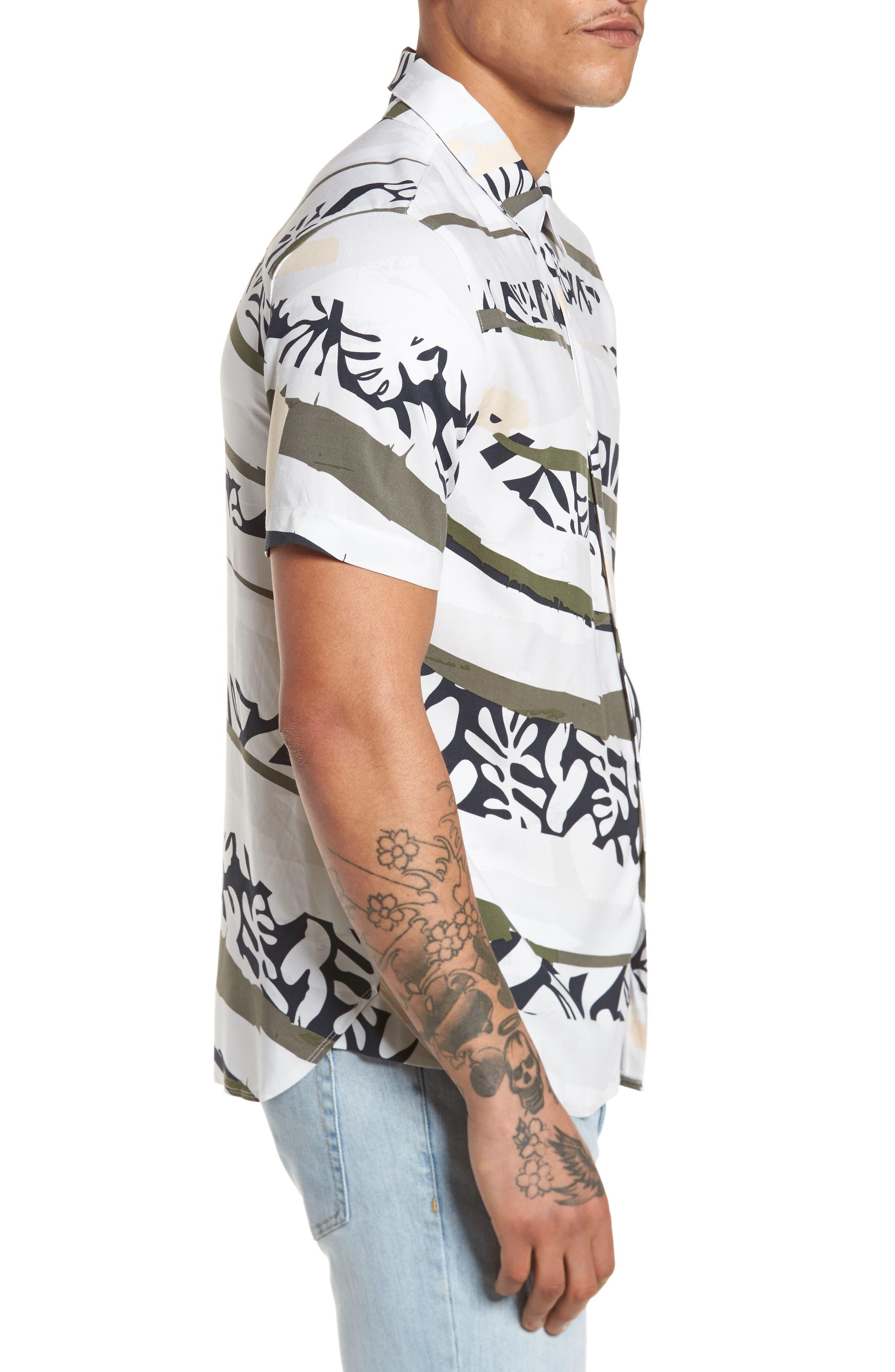 Tropi Camo Woven Shirt,                             Alternate thumbnail 3, color,                             100
