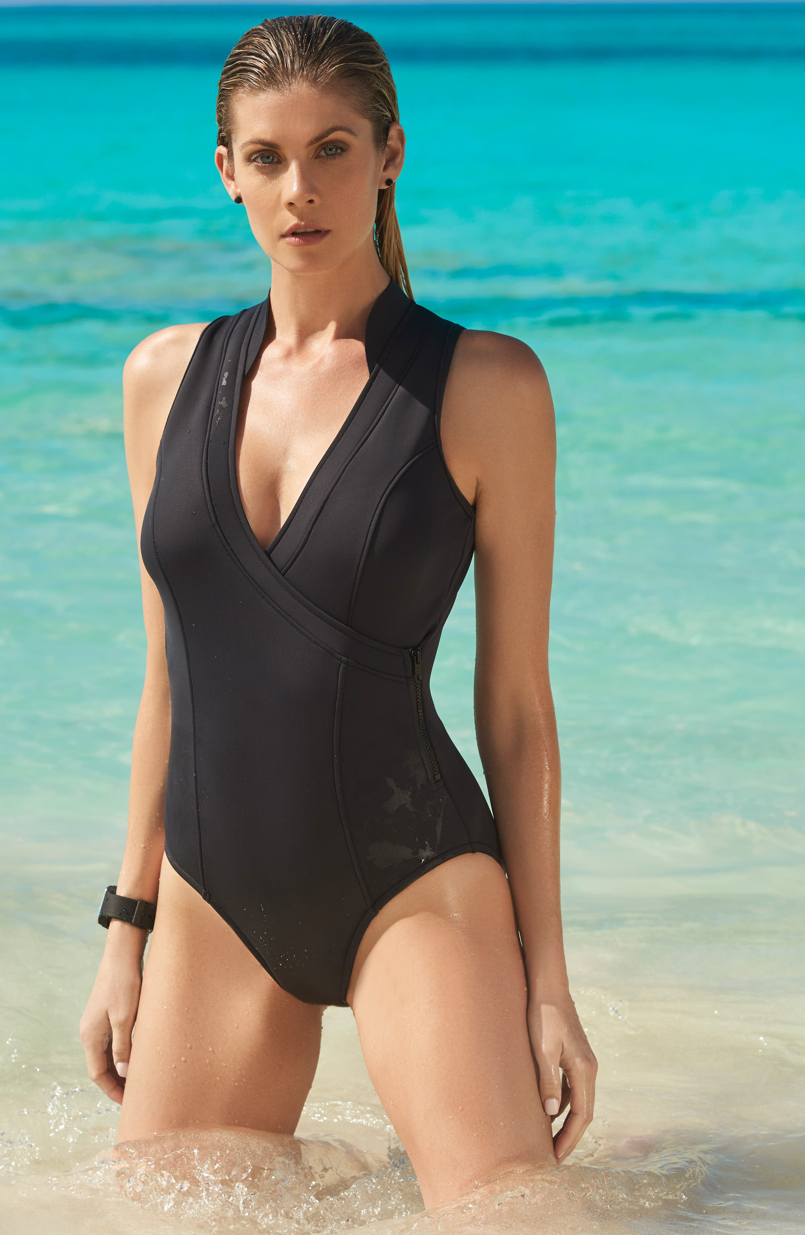 MAGICSUIT<SUP>®</SUP>,                             Miley One-Piece Swimsuit,                             Alternate thumbnail 4, color,                             BLACK