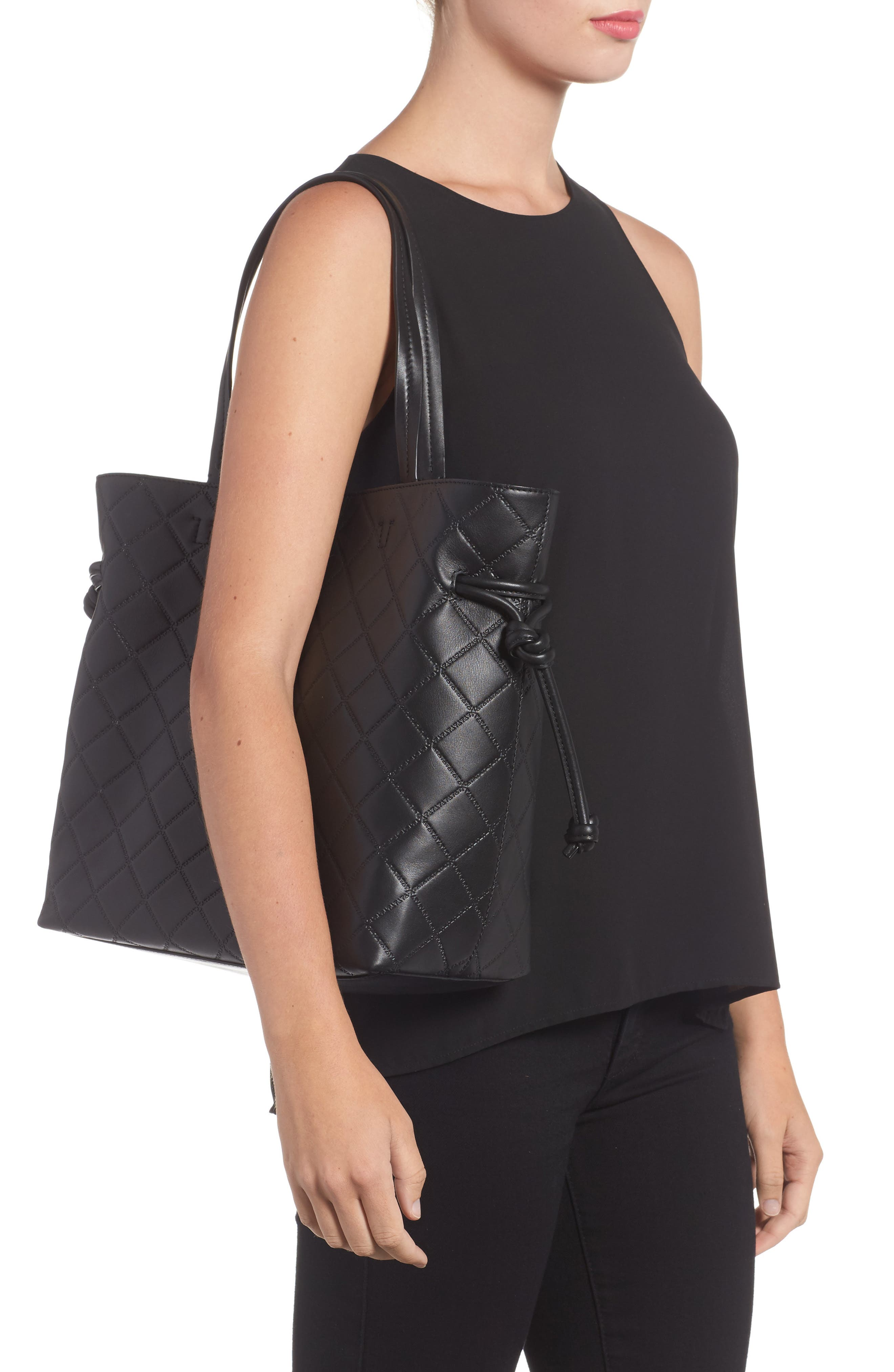 Georgia Slouchy Quilted Leather Tote,                             Alternate thumbnail 2, color,                             001