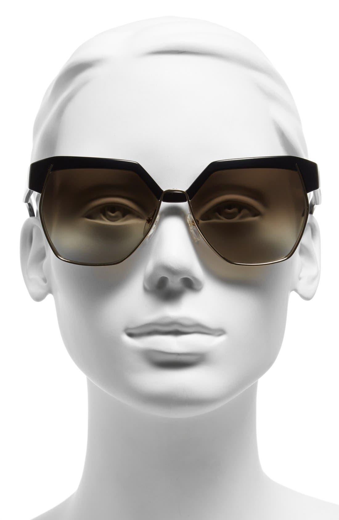 'Dafne ' 60mm Gradient Sunglasses,                             Alternate thumbnail 2, color,                             001