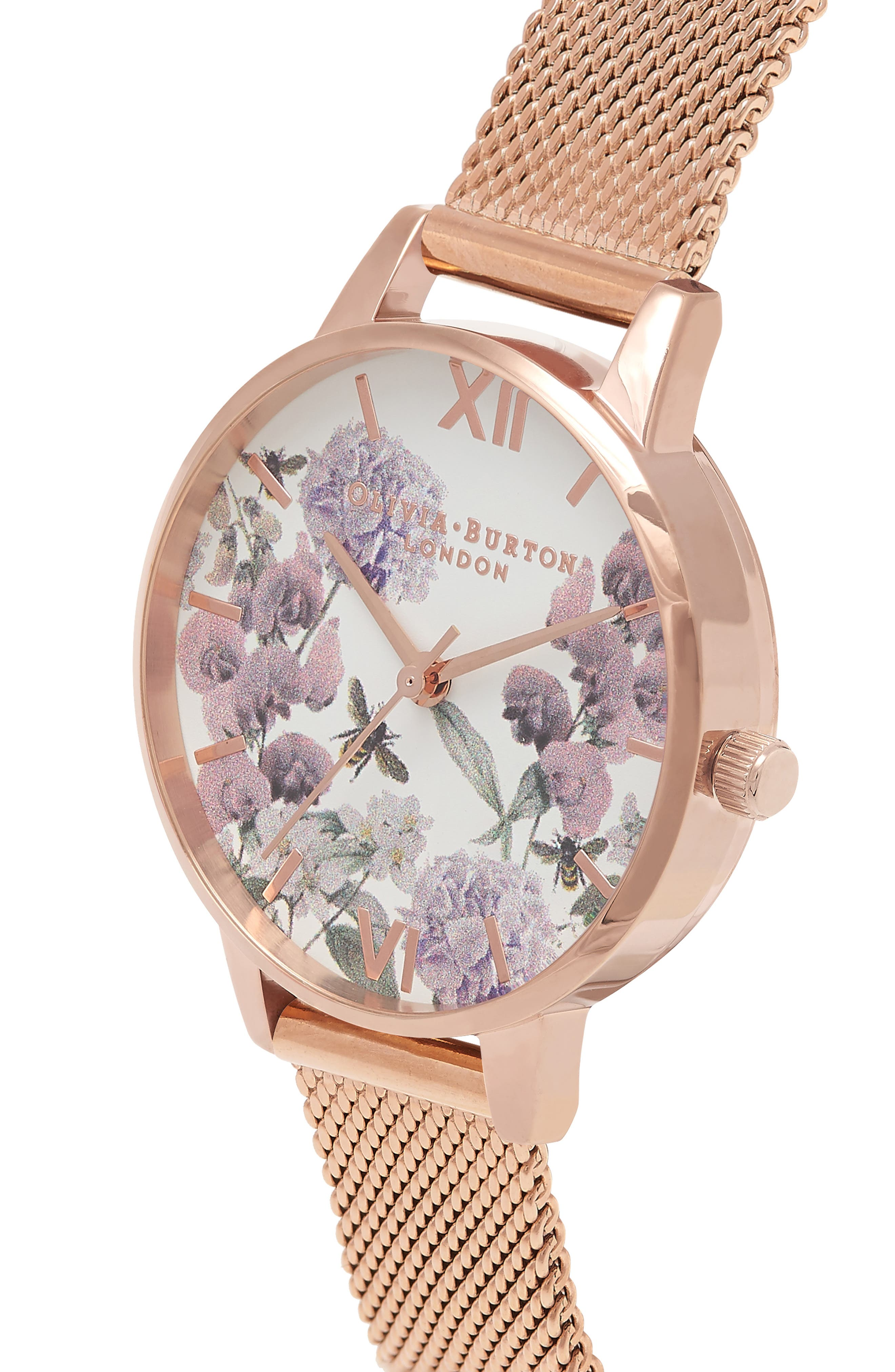Enchanted Garden Bee Blooms Mesh Bracelet Watch, 30mm,                             Alternate thumbnail 4, color,                             710