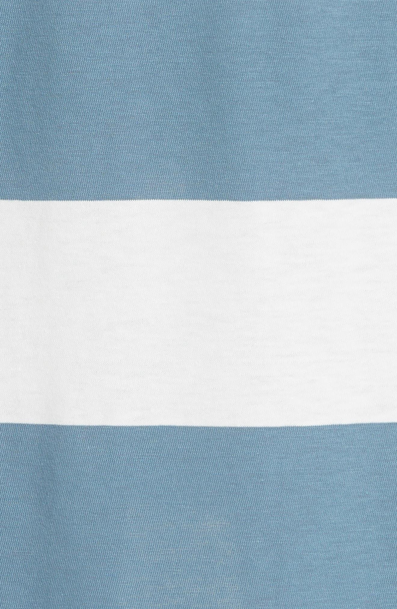 Stripe Mercerized Jersey Dress,                             Alternate thumbnail 5, color,                             CHALK/ PRUSSIAN