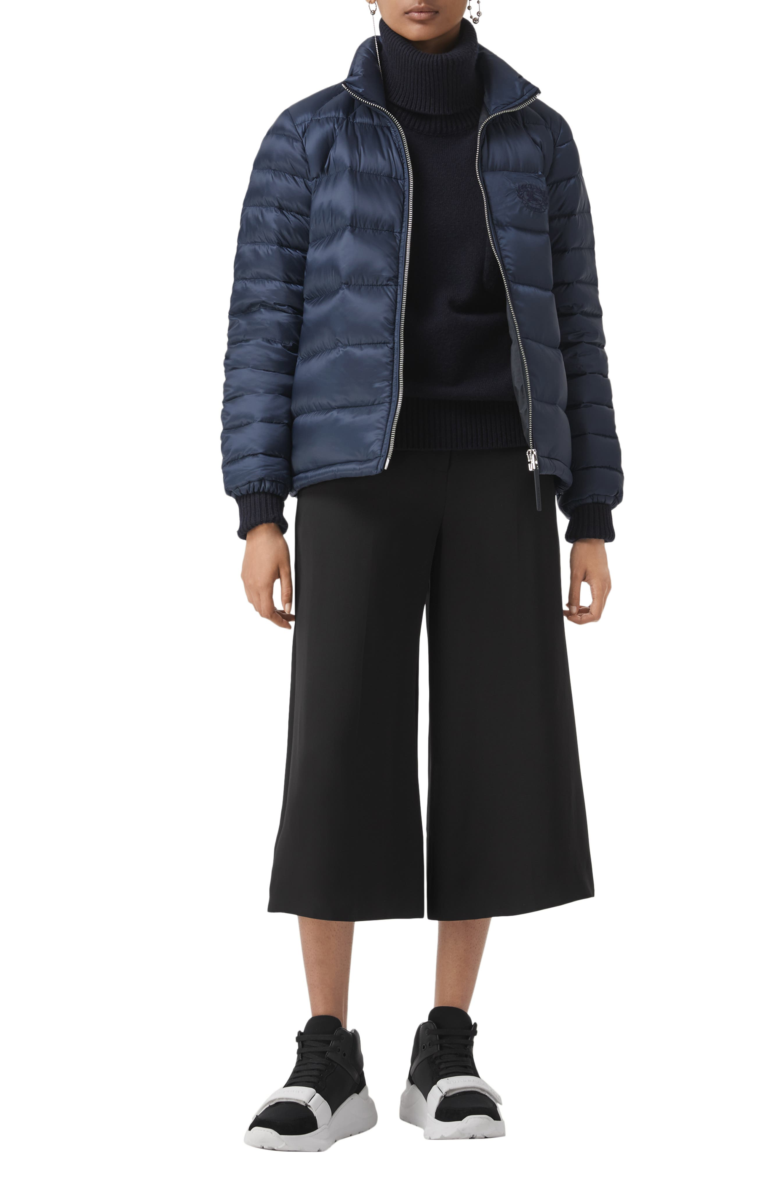 BURBERRY,                             Smethwick Archive Logo Quilted Down Puffer Coat,                             Alternate thumbnail 5, color,                             NAVY