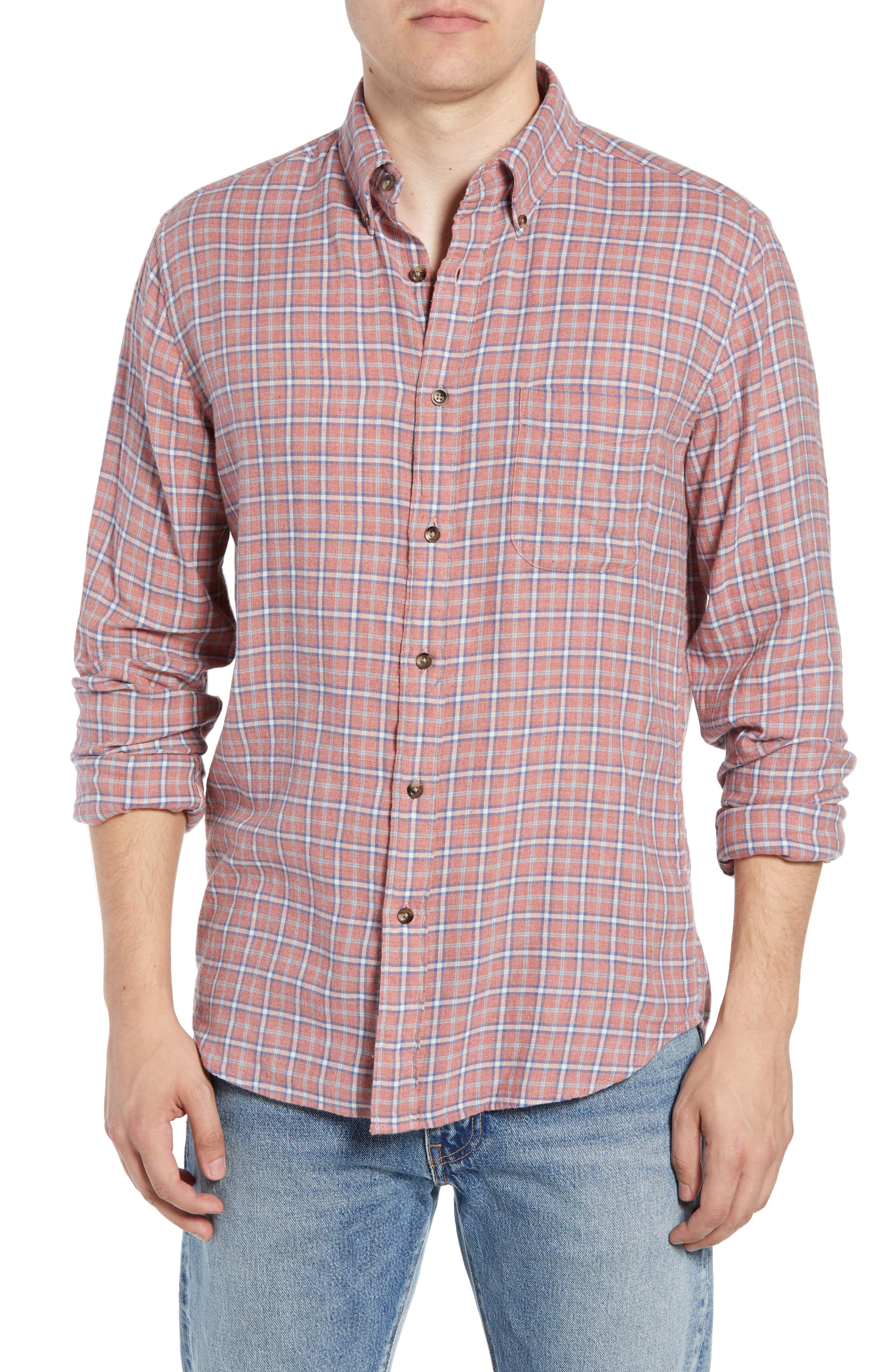 Pacific Check Organic Cotton Sport Shirt,                             Main thumbnail 1, color,                             HEATHER RED MULTI