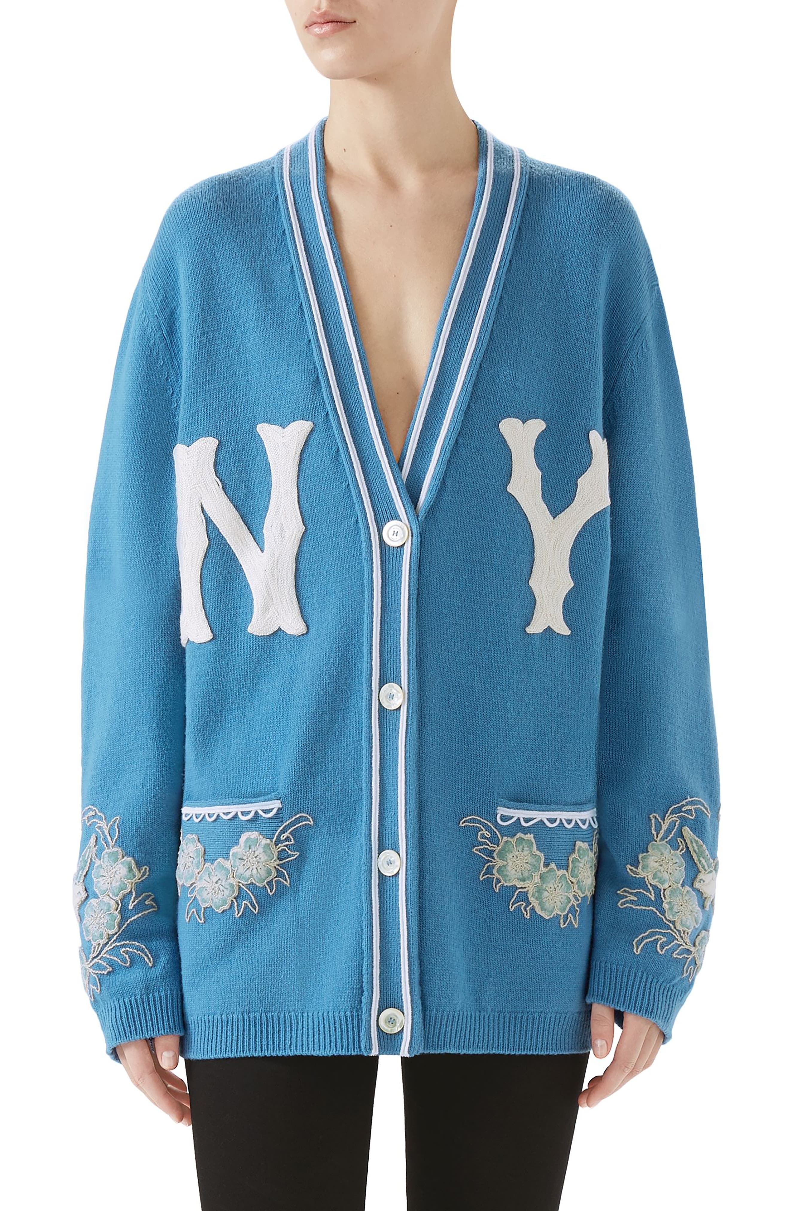 NY Embroidered Wool Cardigan,                             Main thumbnail 1, color,                             BLUE