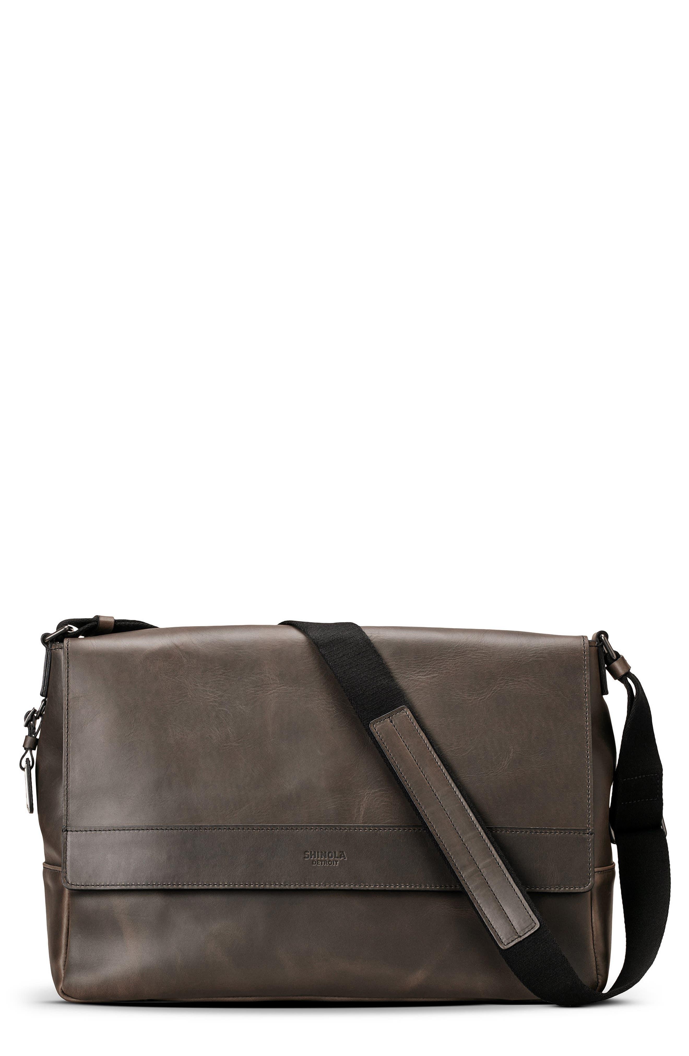 Leather E/W Messenger Bag,                         Main,                         color, CHARCOAL