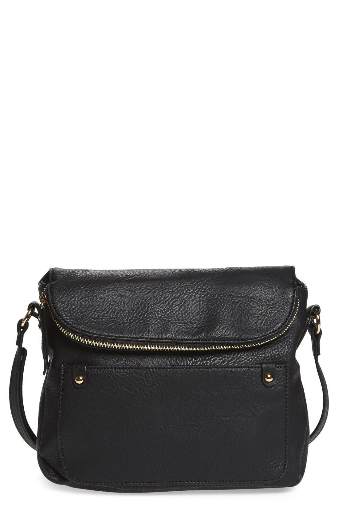 Zip Flap Faux Leather Crossbody Bag,                             Main thumbnail 1, color,                             001