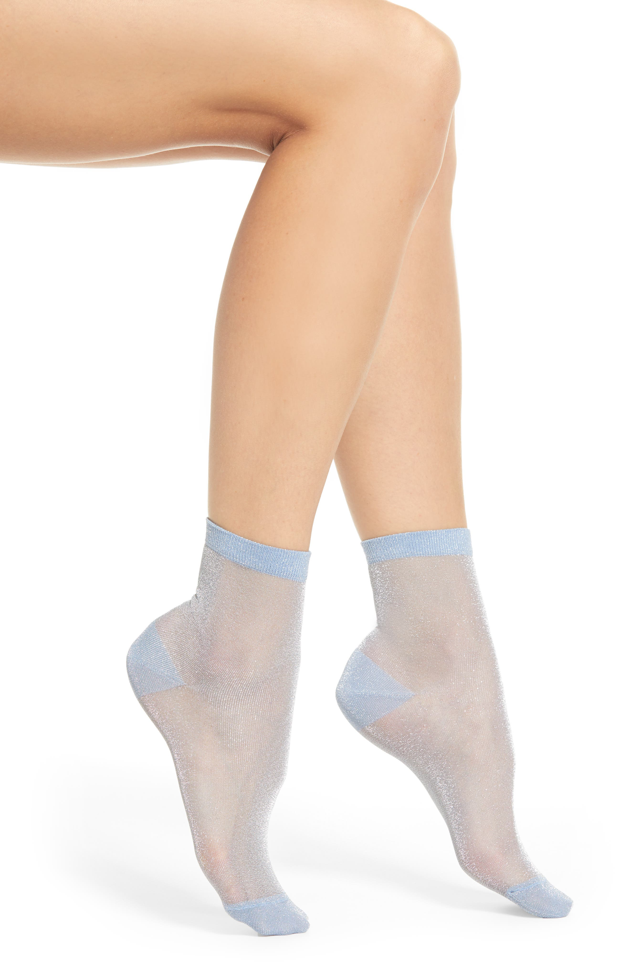 x Atlantic-Pacific Shimmer Ankle Socks, Main, color, BLUE LUSTER
