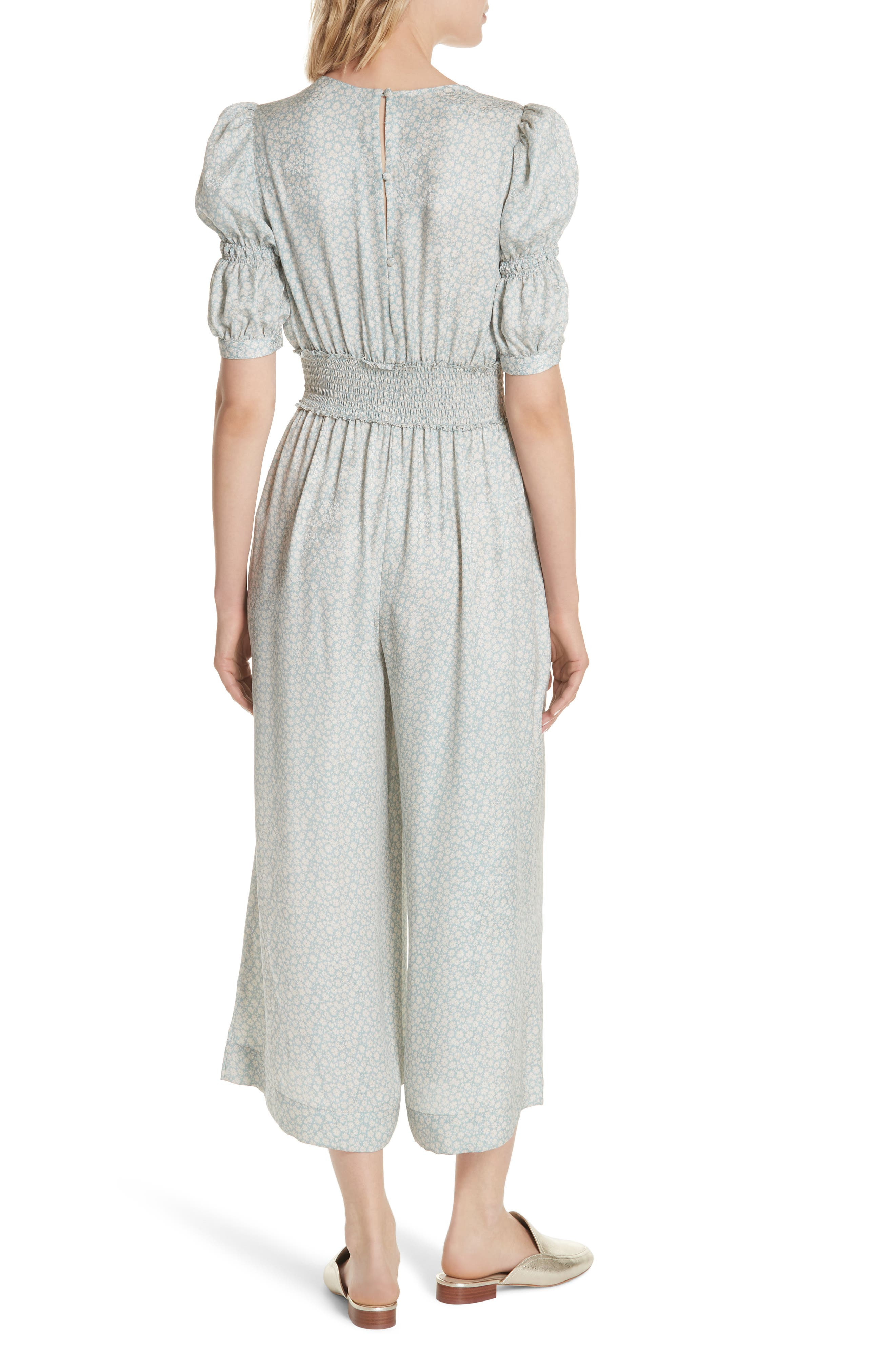Lauren Puff Sleeve Floral Silk Jumpsuit,                             Alternate thumbnail 2, color,                             SAGE COMBO