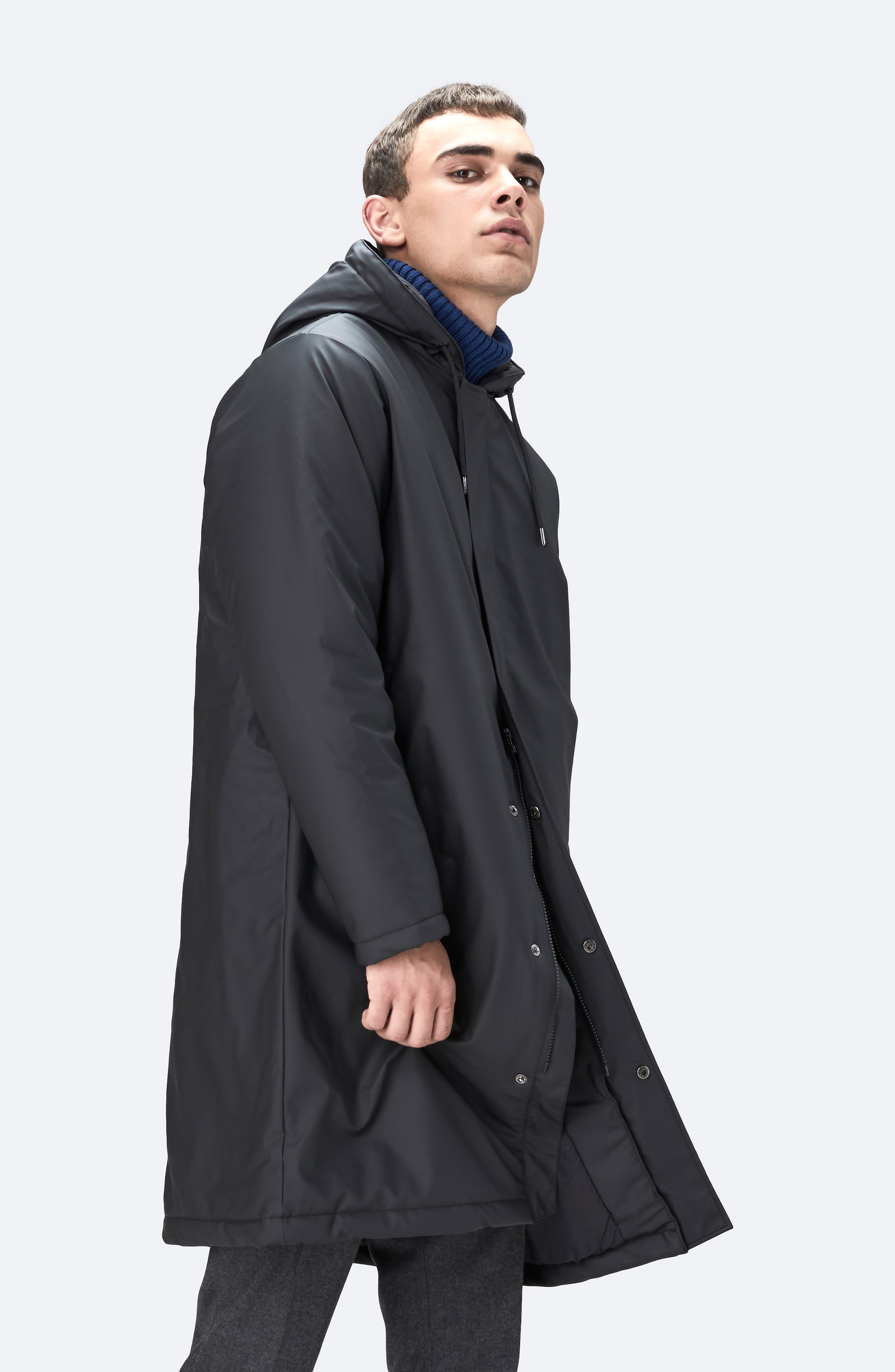Thermal Hooded Raincoat,                             Alternate thumbnail 9, color,                             BLACK