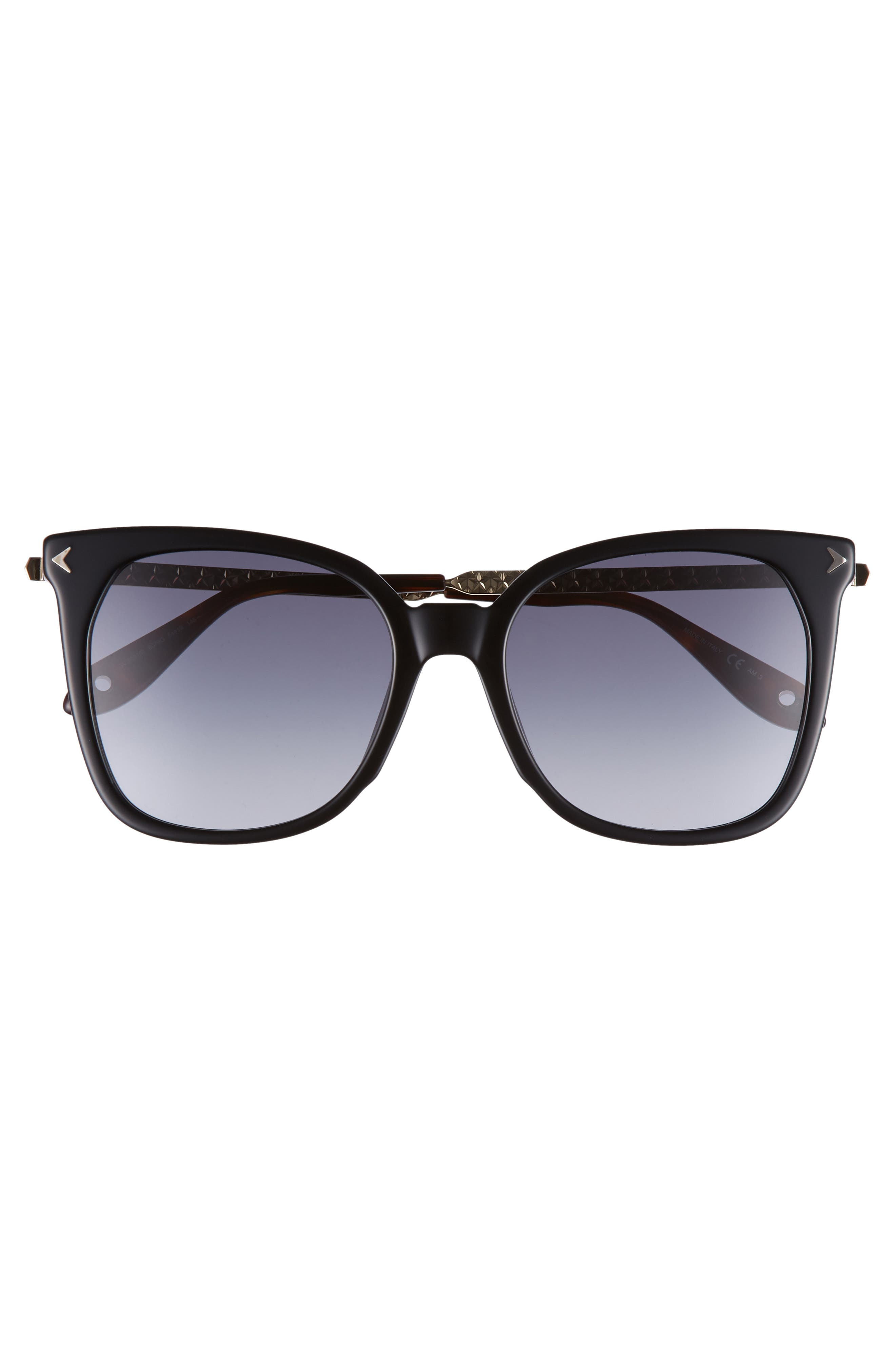 54mm Square Sunglasses,                             Alternate thumbnail 3, color,                             BLACK