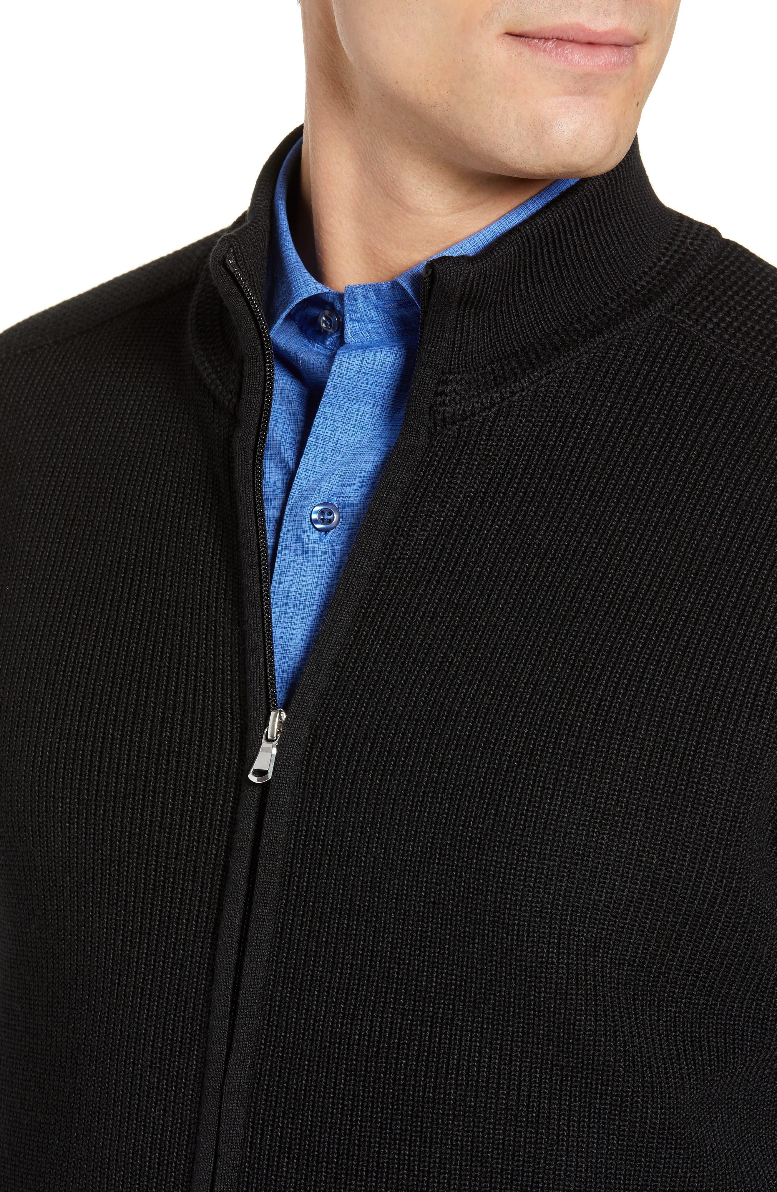 Water Resistant Merino Wool Blend Sweater,                             Alternate thumbnail 4, color,                             BLACK