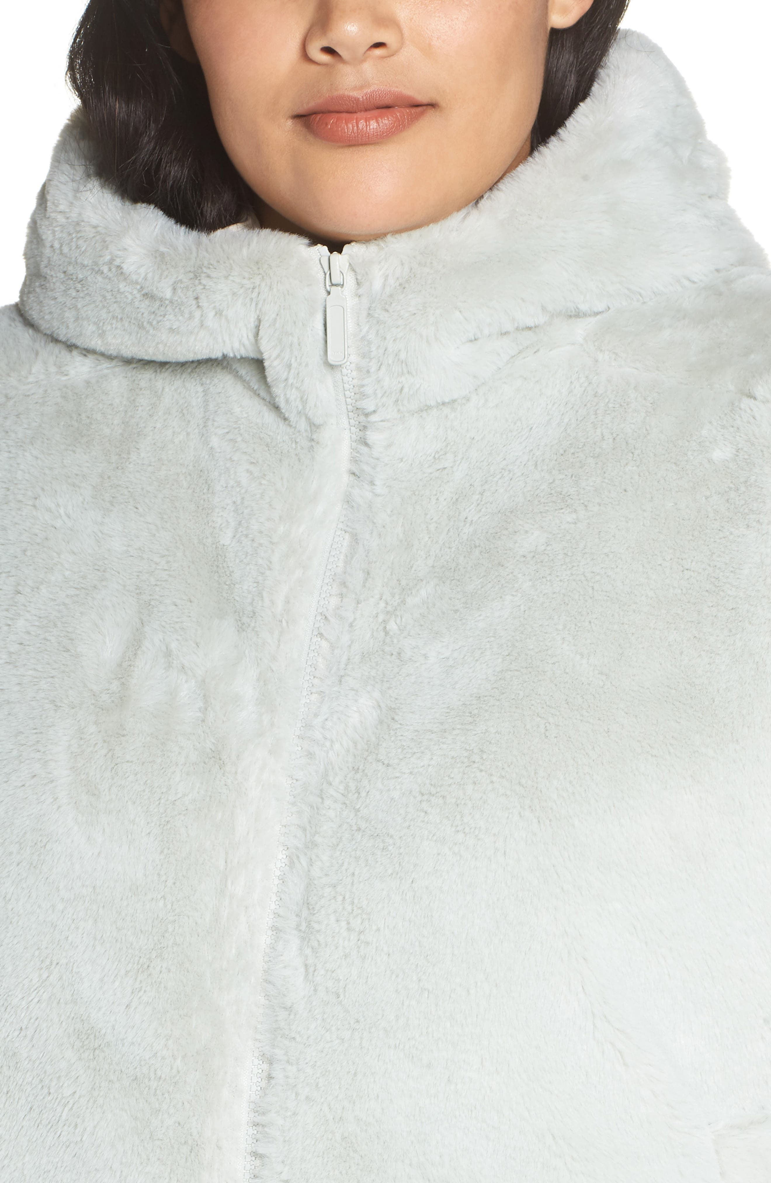 Faux Fur Hooded Jacket,                             Alternate thumbnail 4, color,                             GREEN PLACID