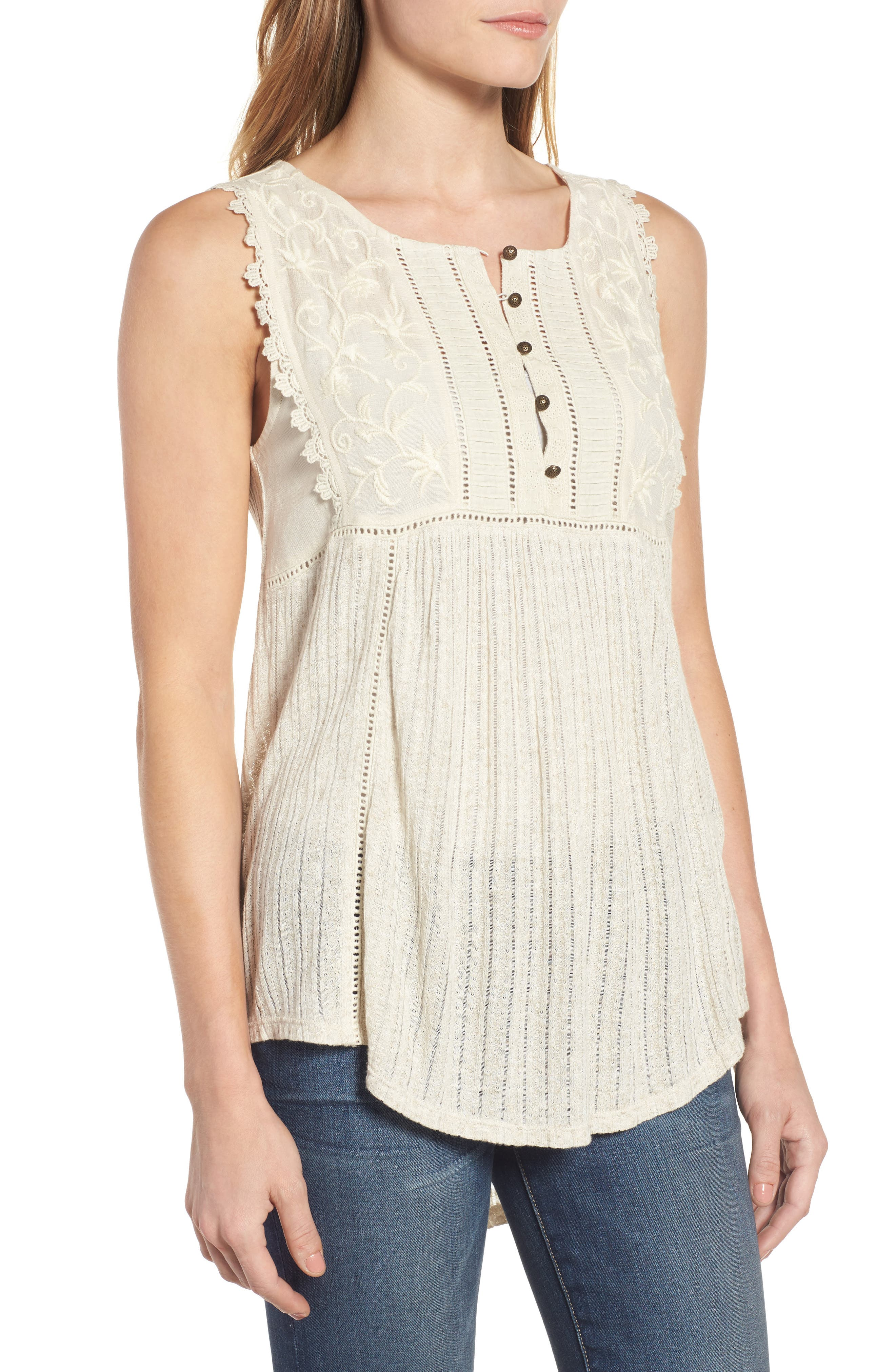 Embroidered Bib Tank,                             Alternate thumbnail 3, color,                             100