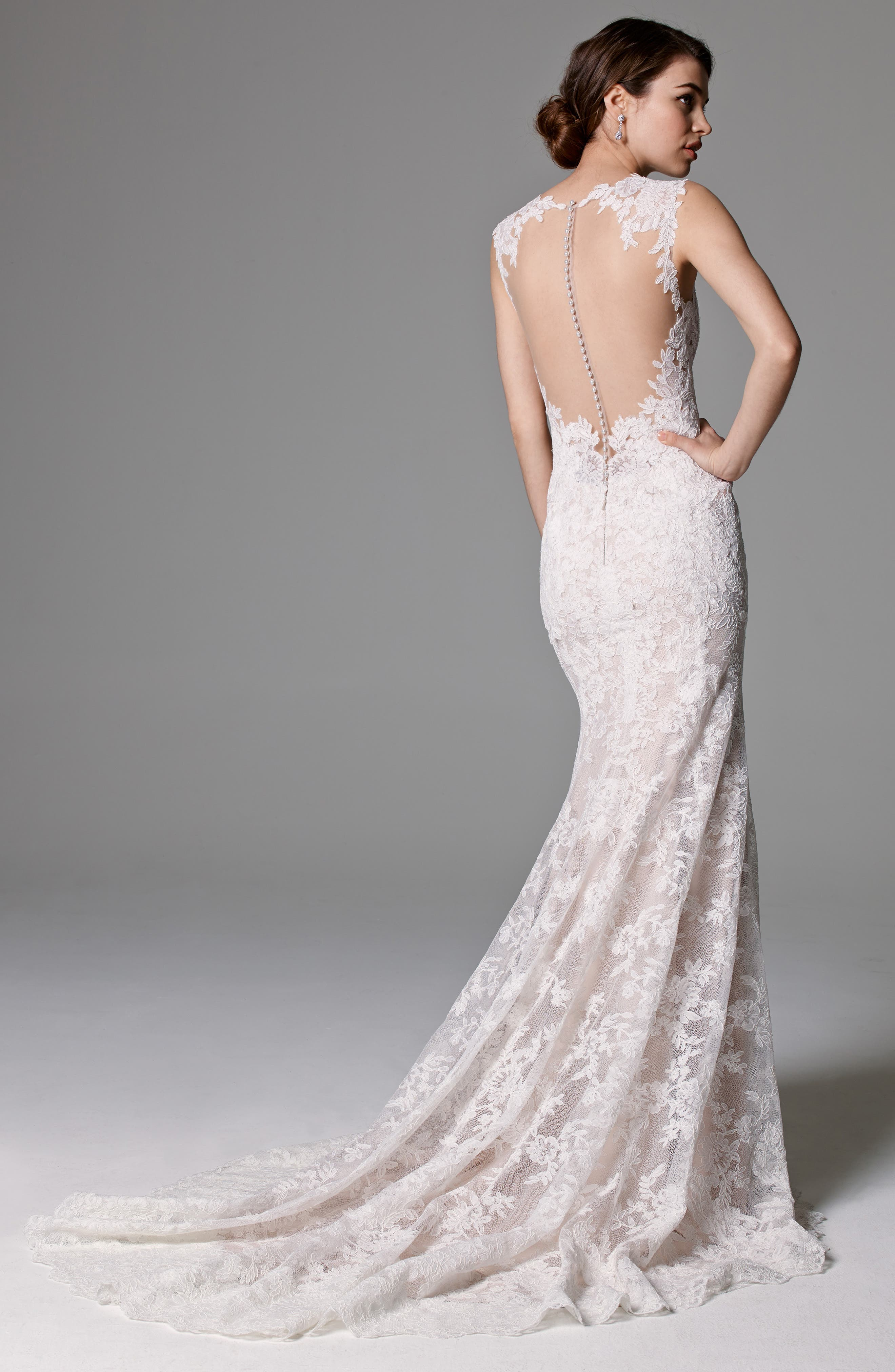Ashland Lace Mermaid Gown,                             Alternate thumbnail 2, color,                             IVORY