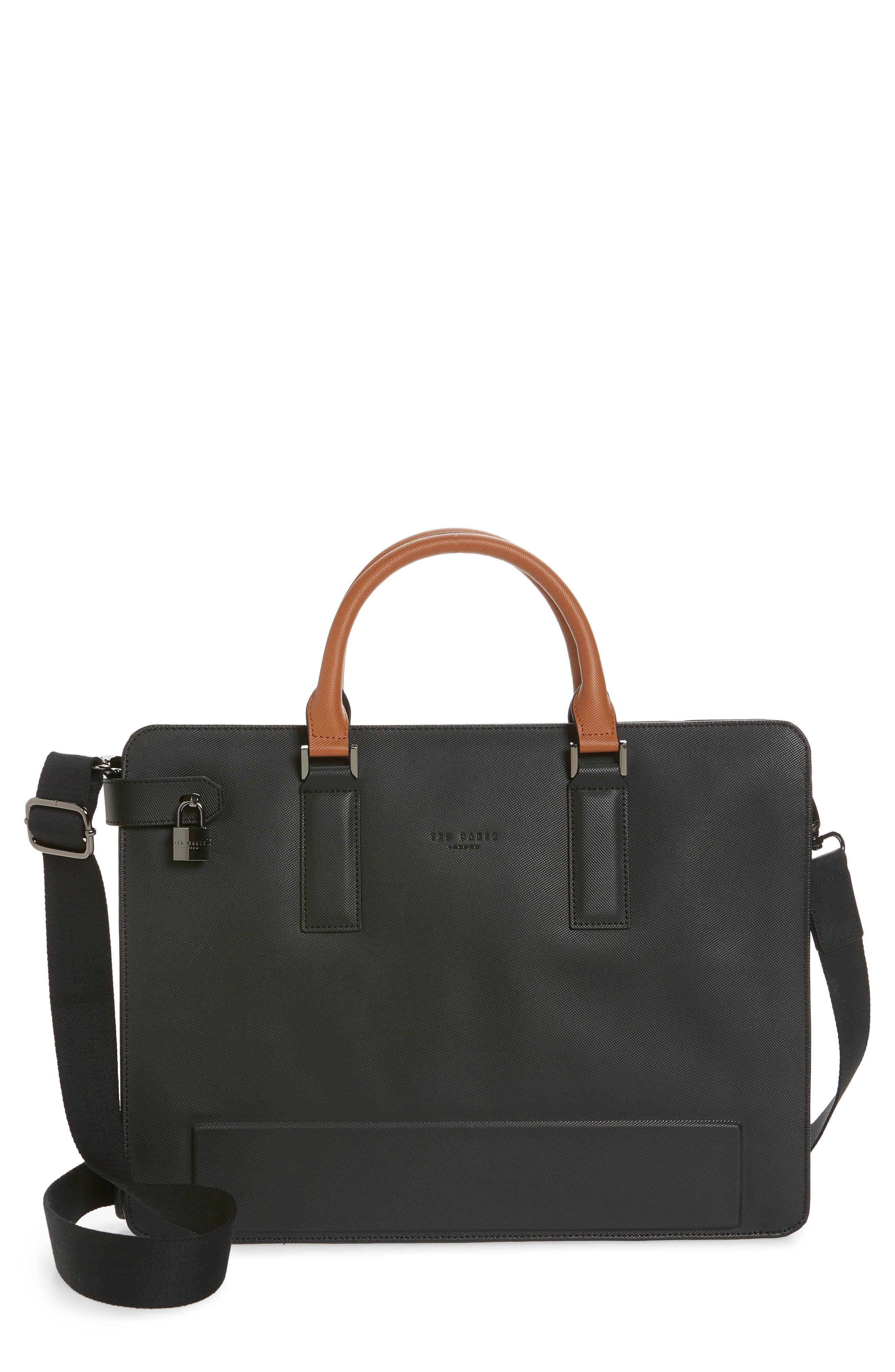 TED BAKER LONDON Stark Leather Briefcase, Main, color, BLACK