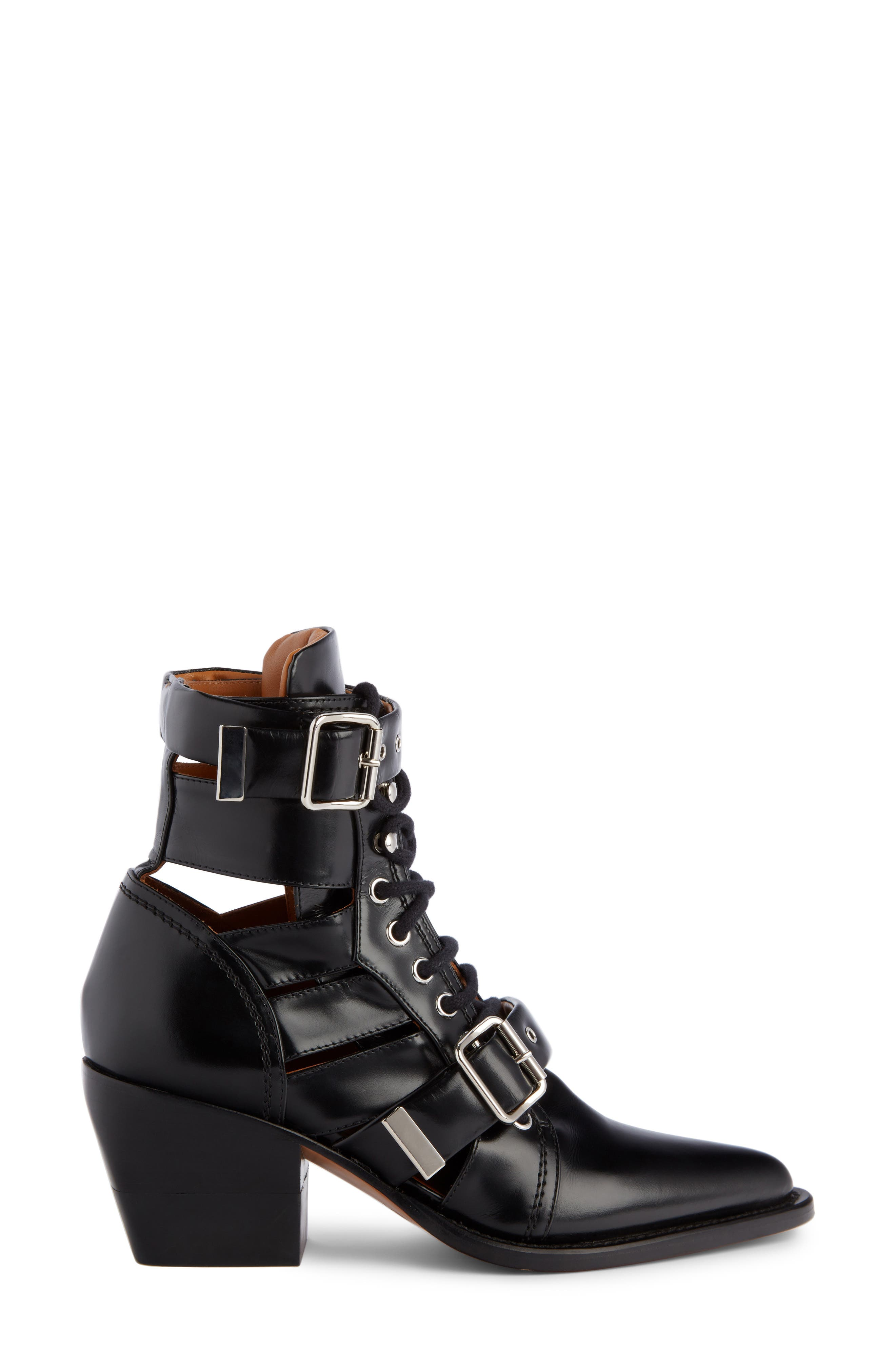 Rylee Caged Pointy Toe Boot,                             Alternate thumbnail 3, color,                             BLACK