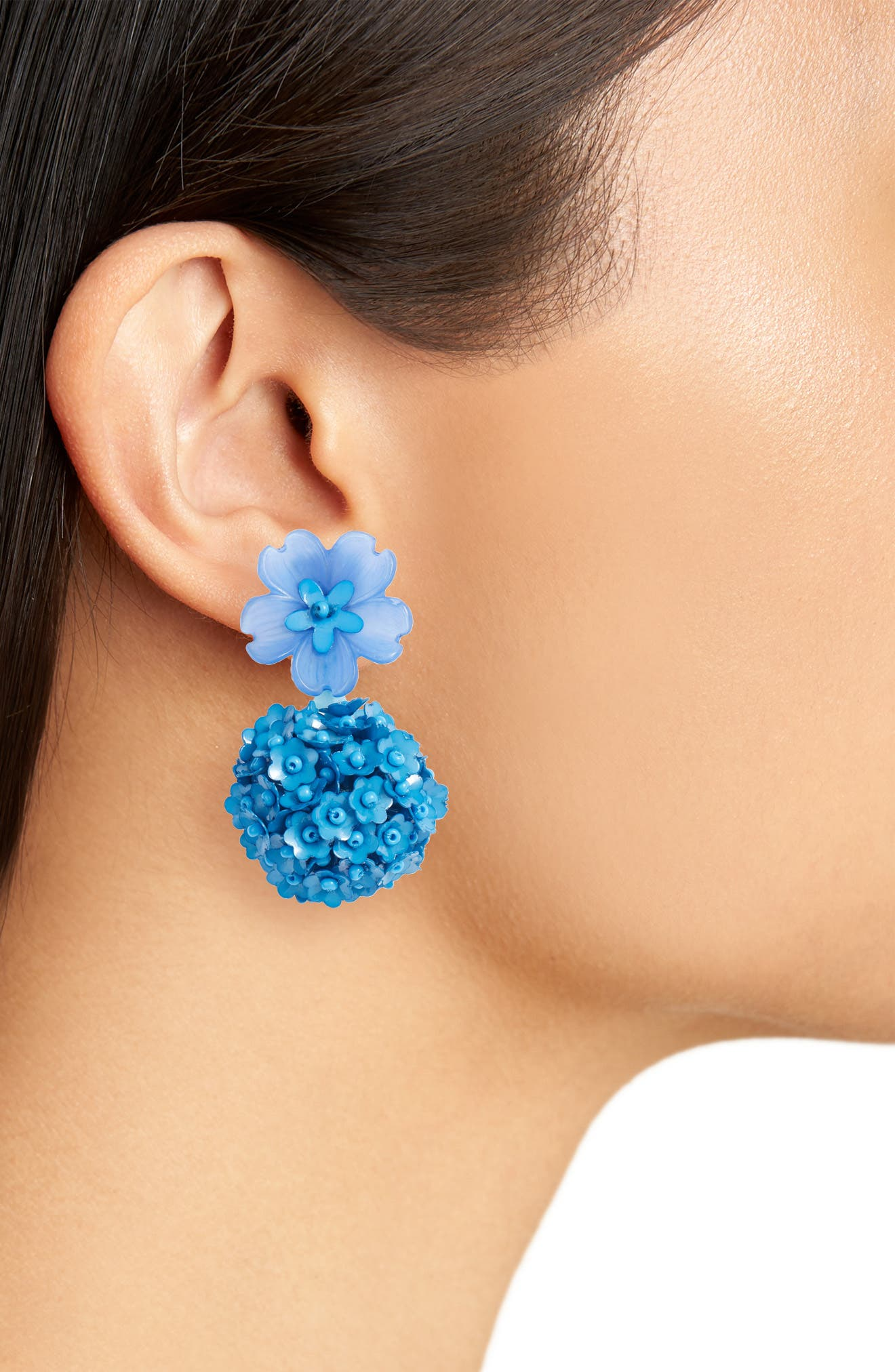 Noir Fleur Drop Earrings,                             Alternate thumbnail 2, color,                             OCEAN