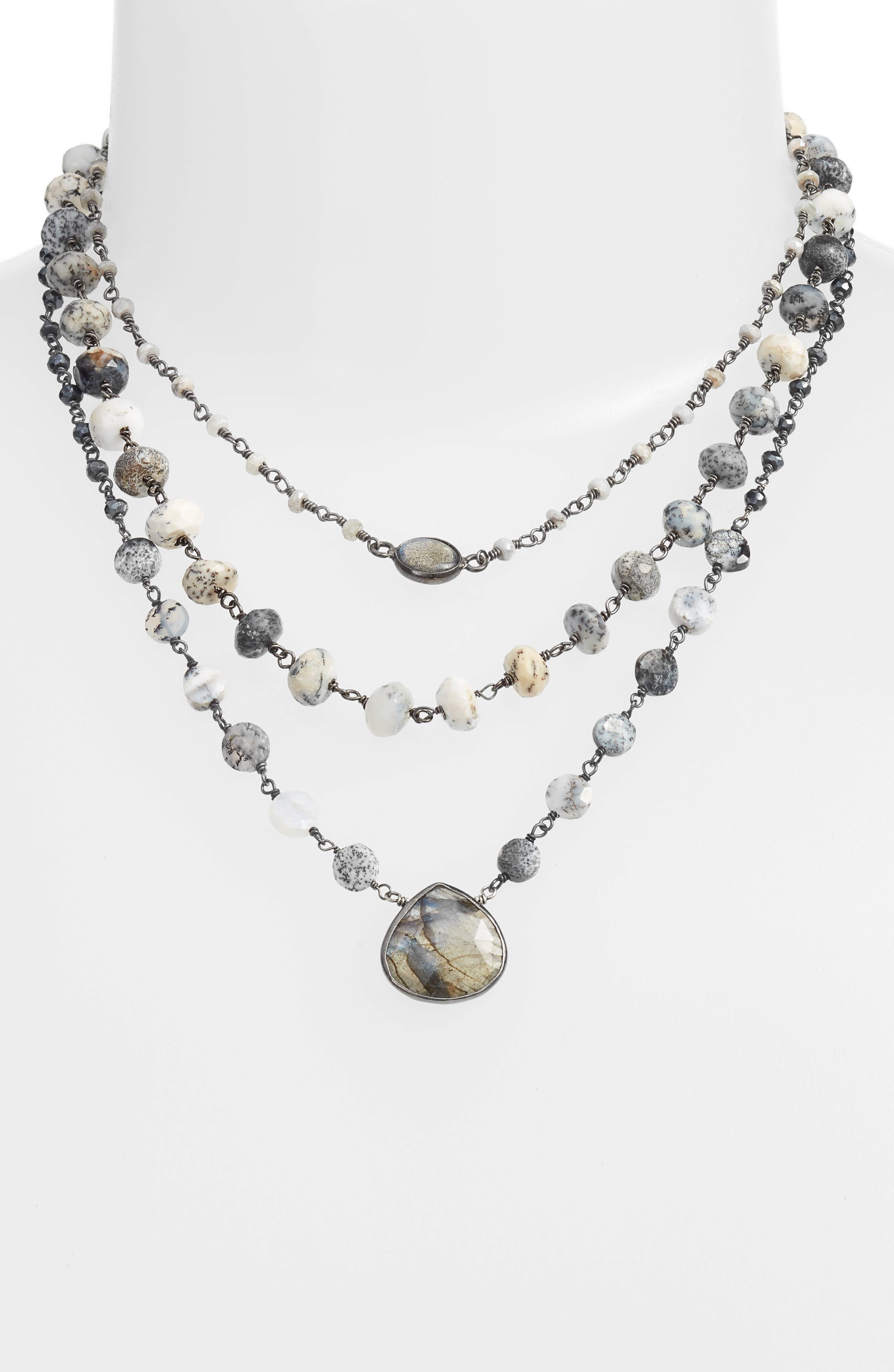 Multistrand Necklace,                             Alternate thumbnail 2, color,                             MYSTIC WHITE/ LABARDORITE