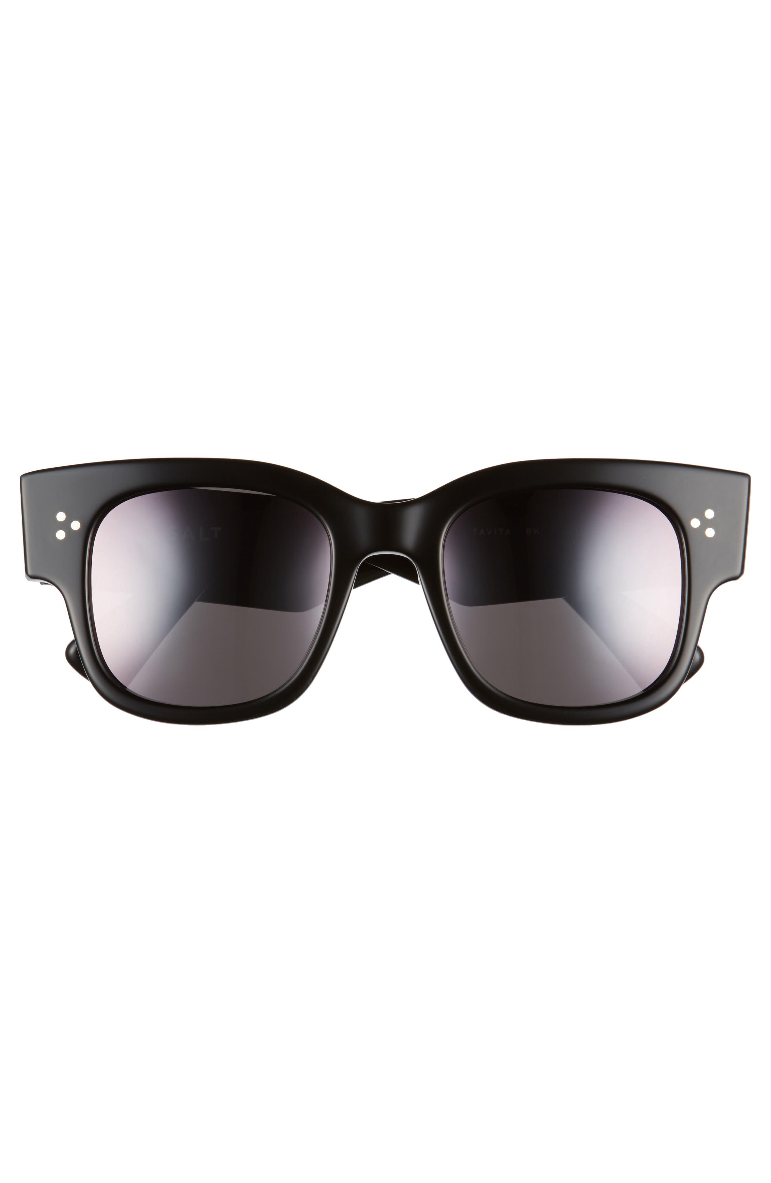 Tavita 50mm Polarized Square Sunglasses,                             Alternate thumbnail 3, color,                             BLACK
