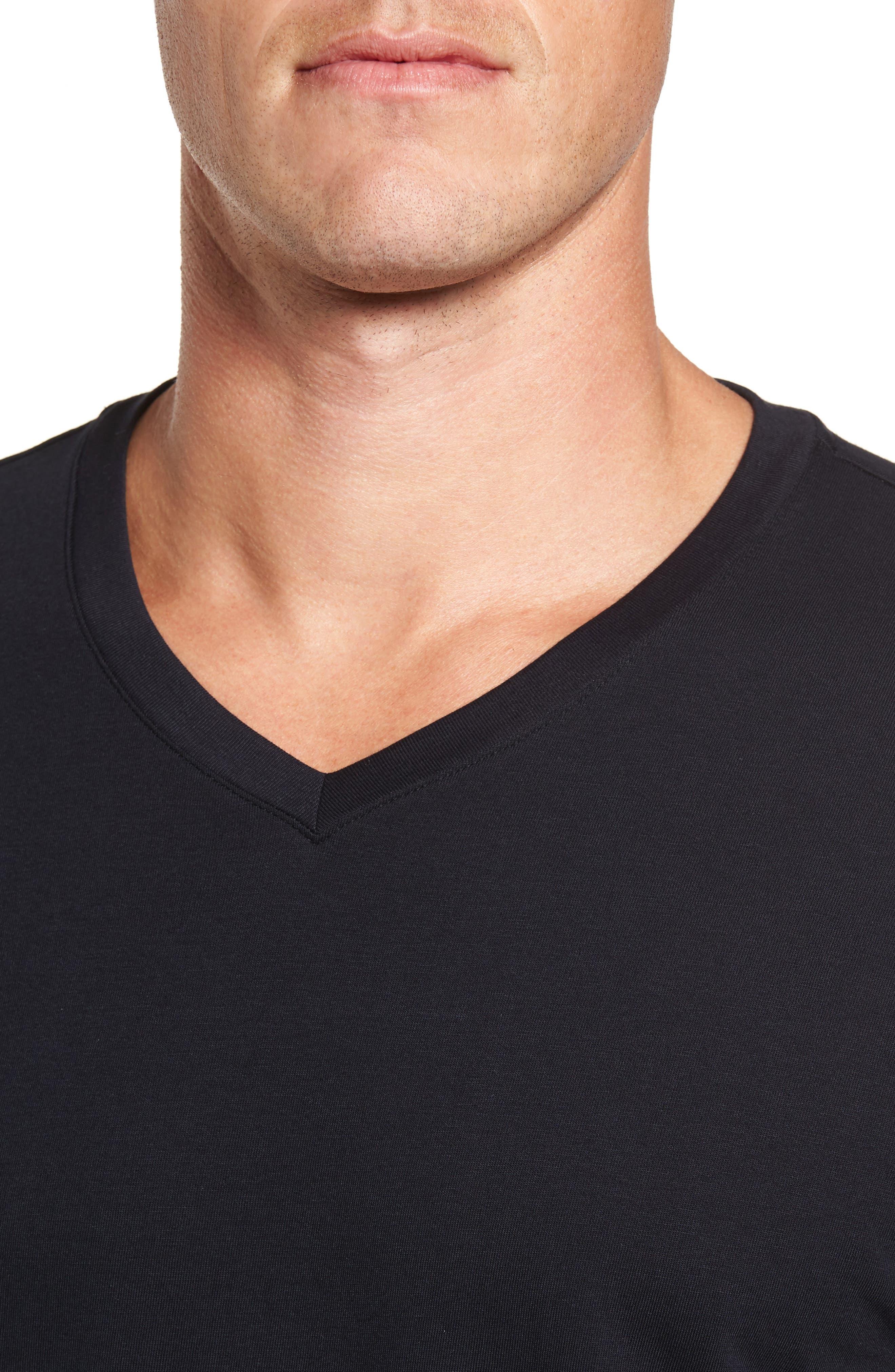 Living V-Neck T-Shirt,                             Alternate thumbnail 4, color,                             BLACK