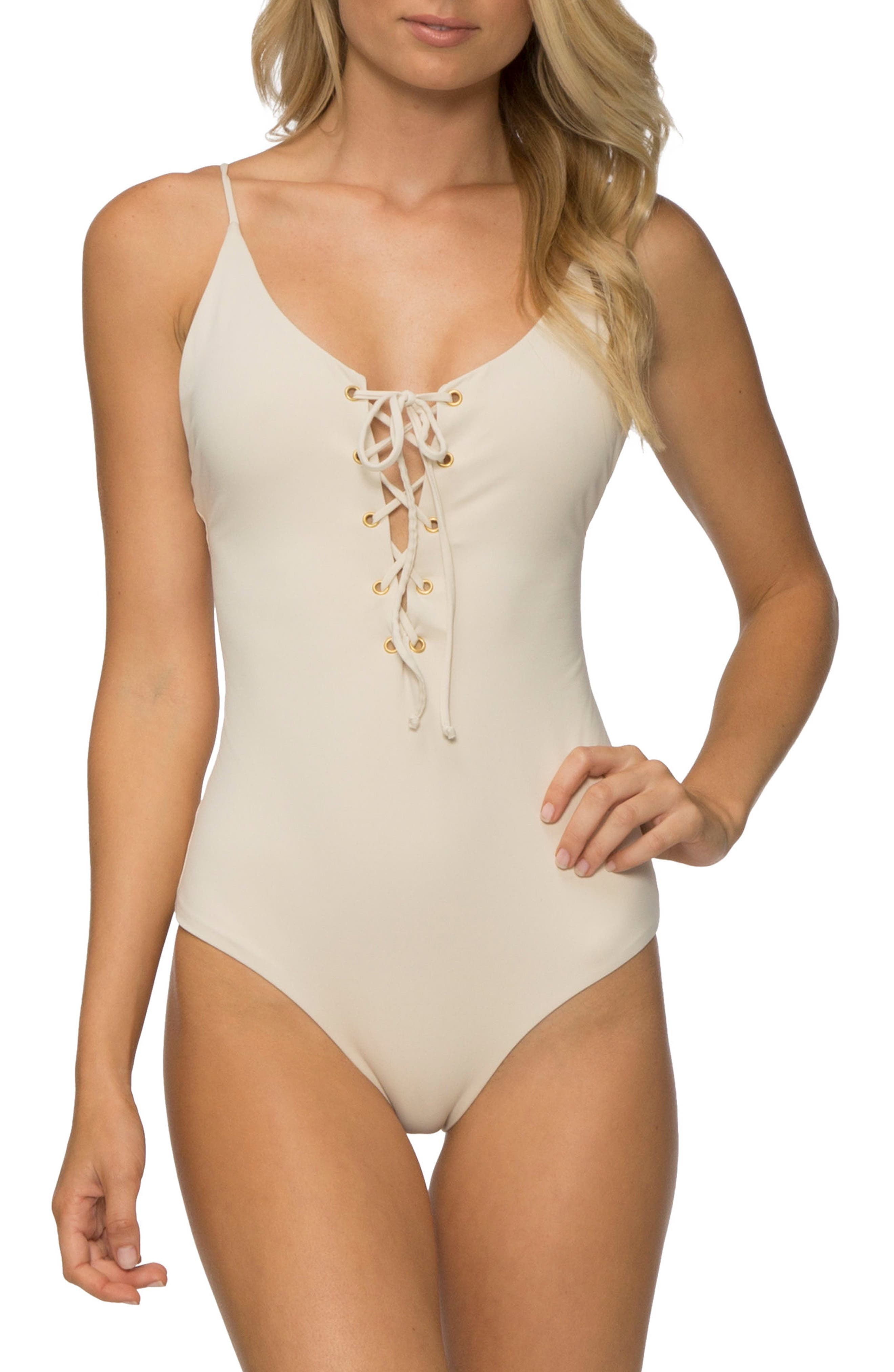 Monahan One-Piece Swimsuit,                             Main thumbnail 1, color,                             TAPIOCA