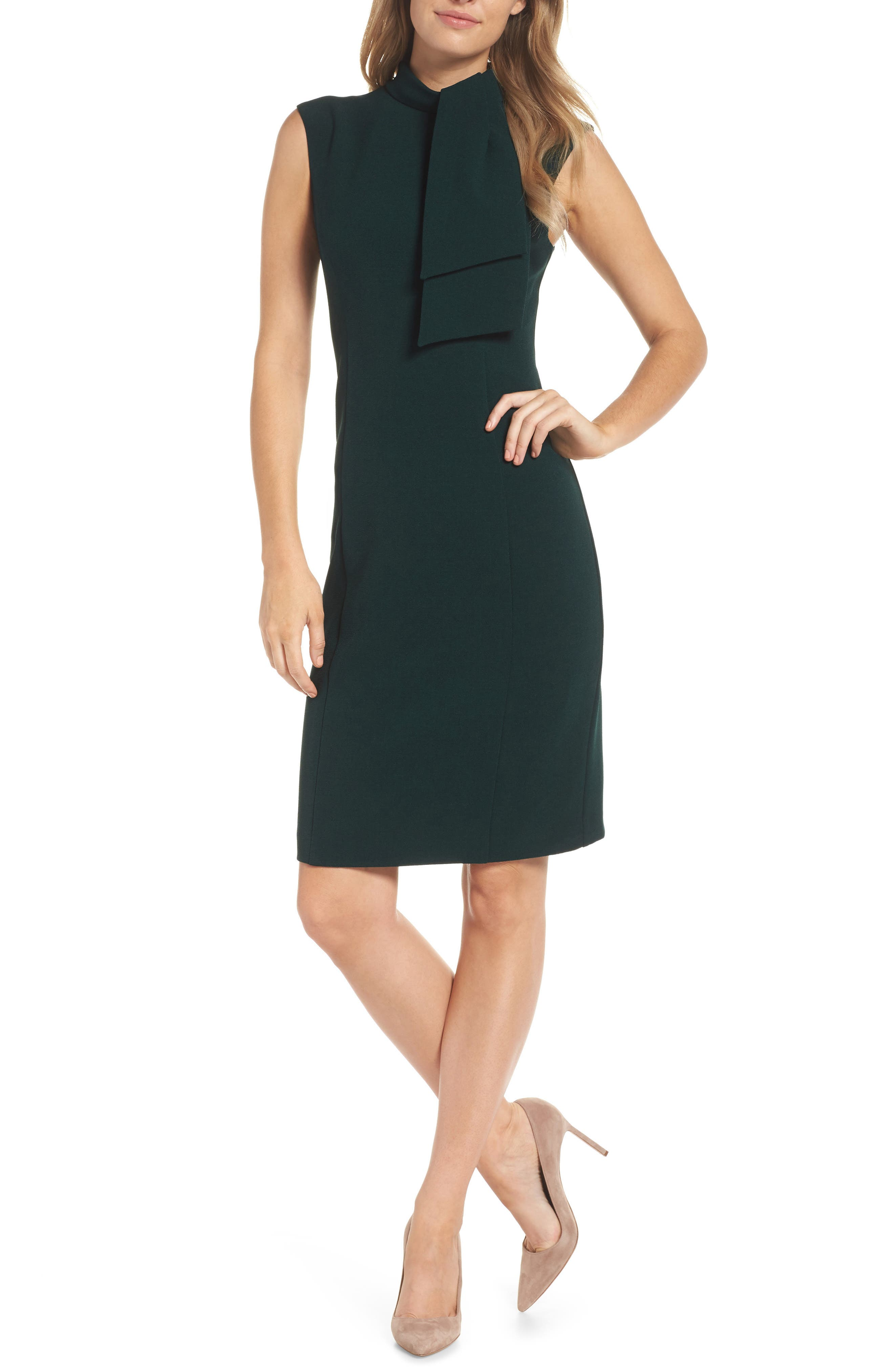 HARPER ROSE Tie Neck Sheath Dress, Main, color, 302