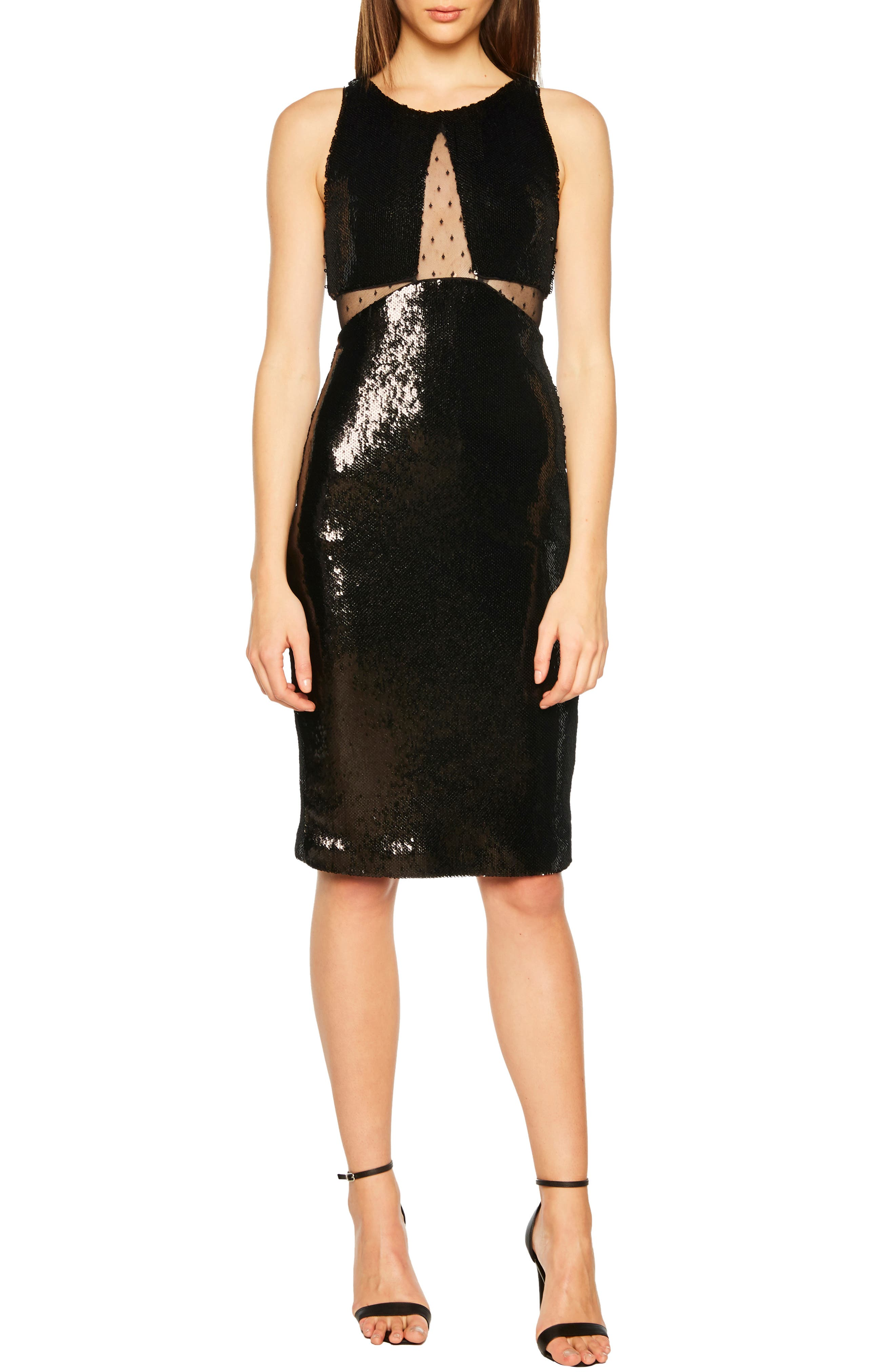 BARDOT Splice Sequin Sheath Dress, Main, color, BLACK