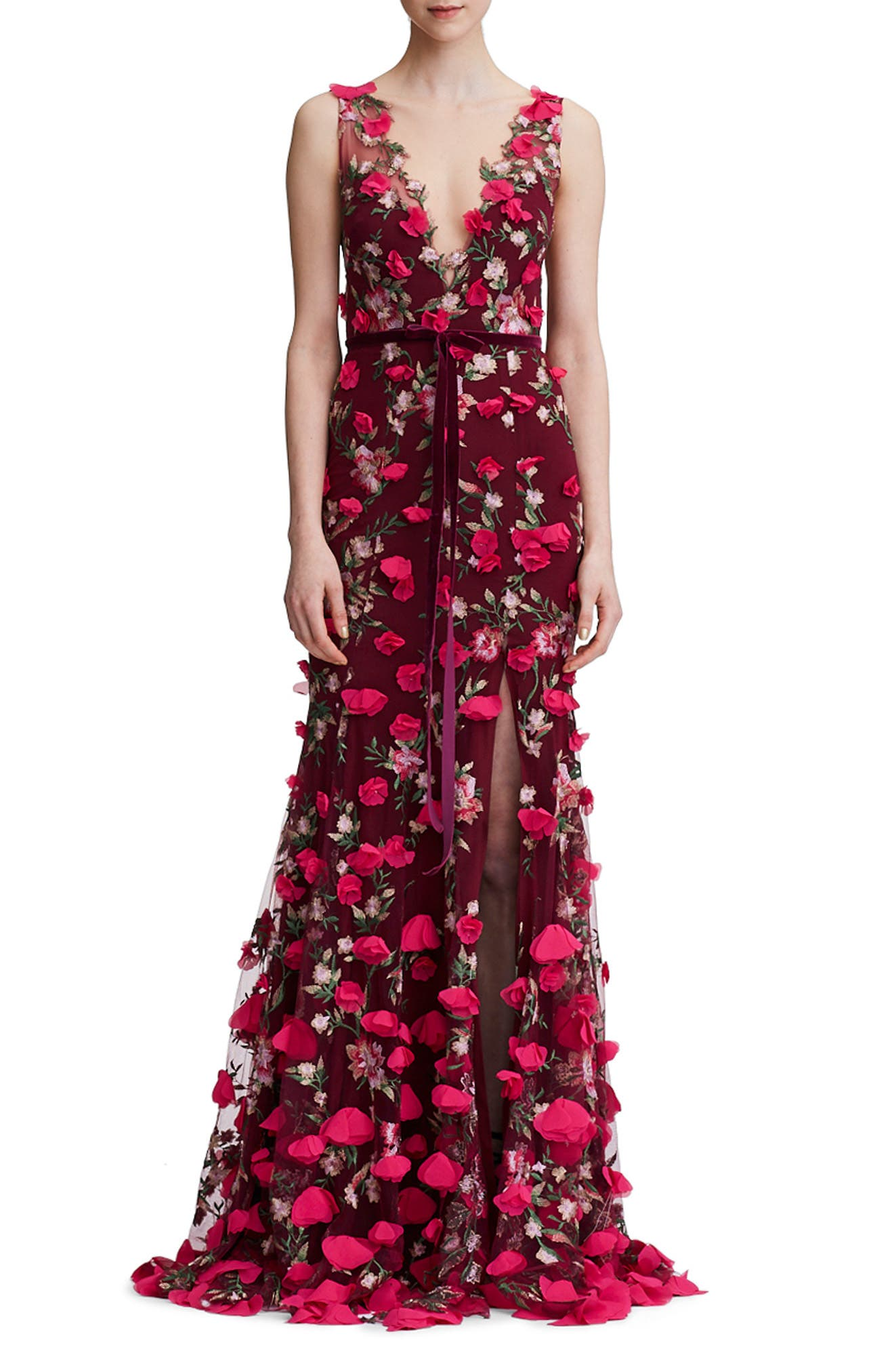 Floral Embroidered Trumpet Gown,                             Main thumbnail 1, color,                             930
