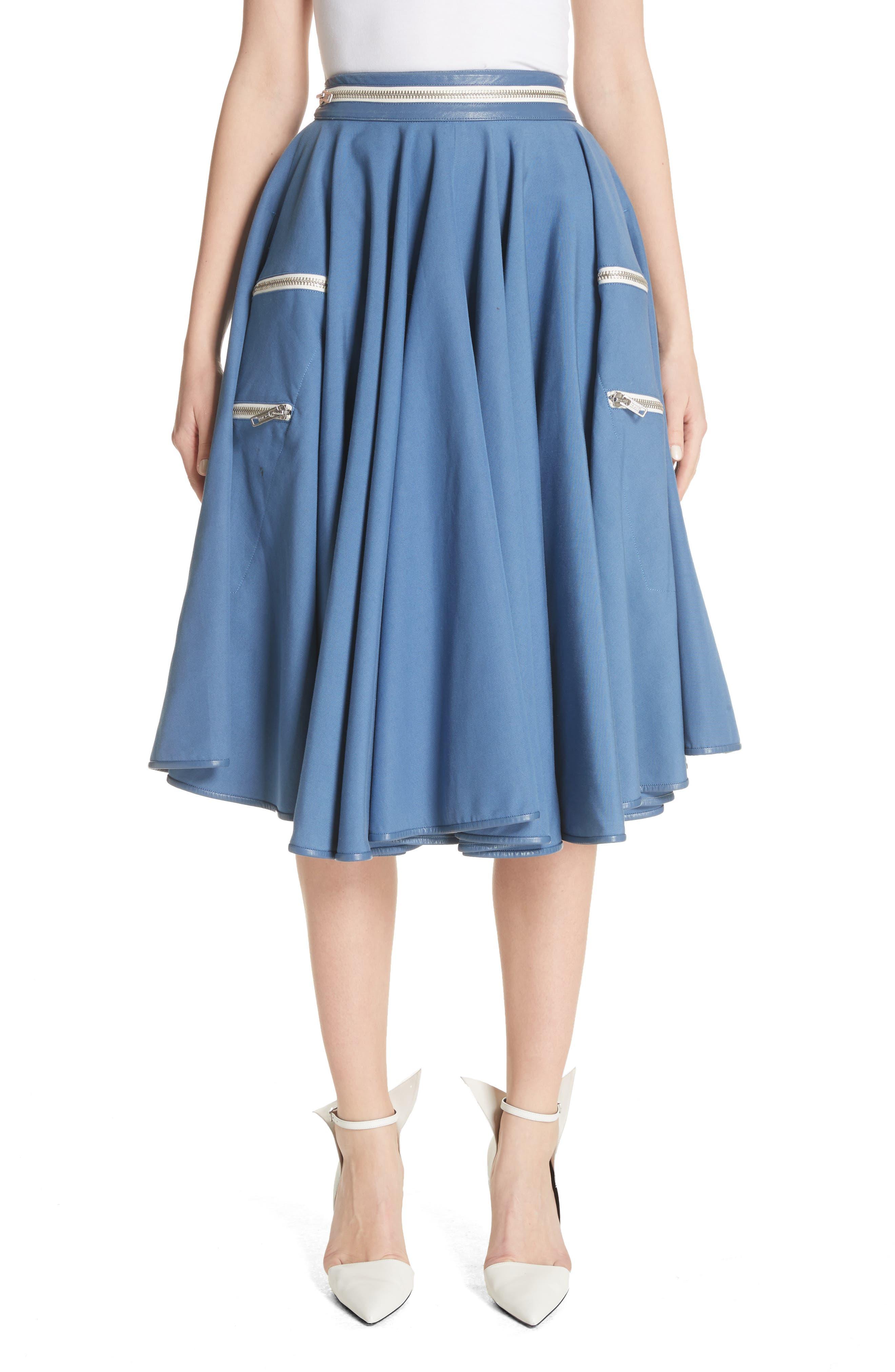 Zip Detail Circle Skirt,                             Main thumbnail 1, color,                             422