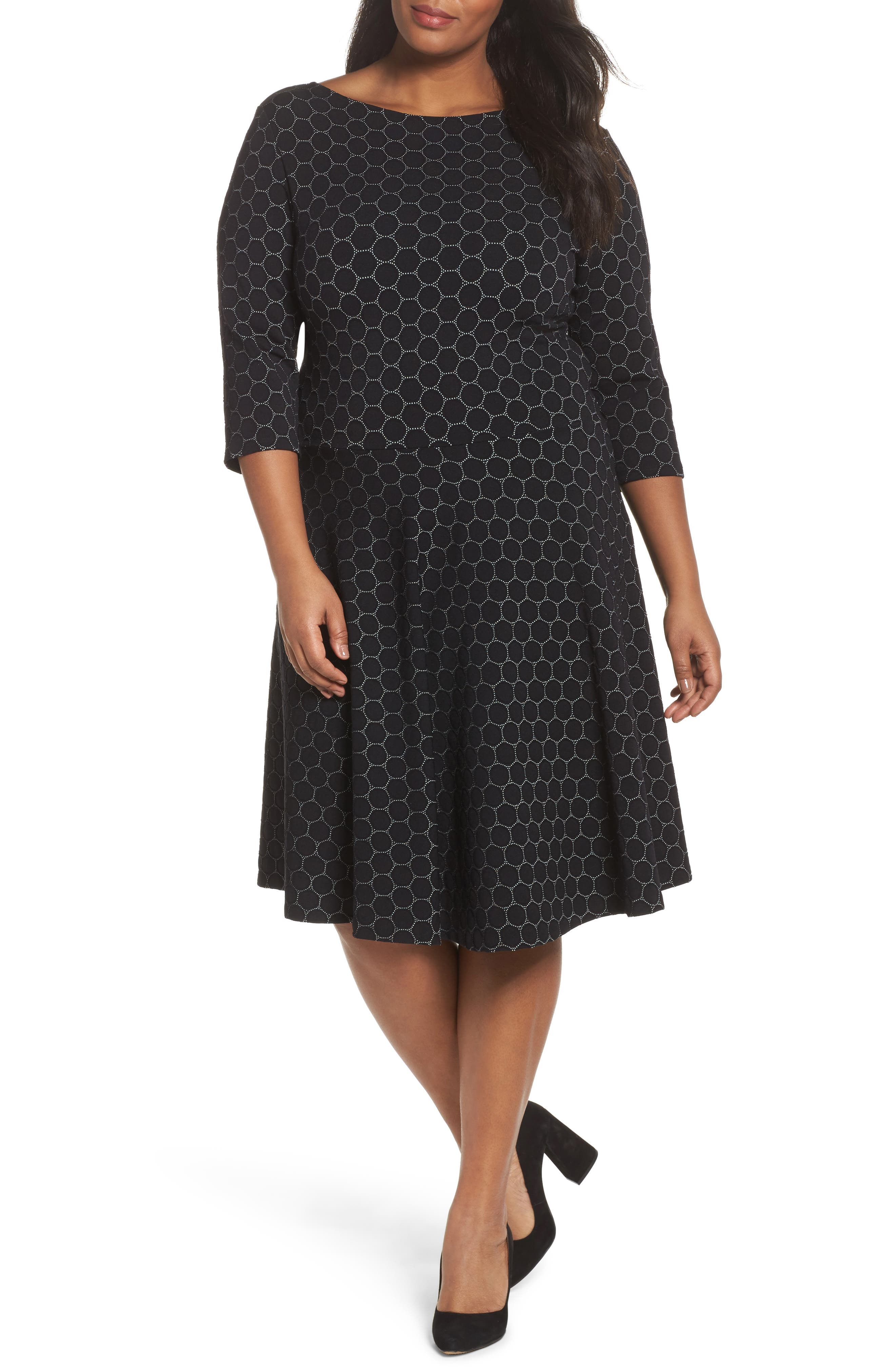 Circle Knit Fit & Flare Dress,                             Main thumbnail 1, color,                             BLACK LUXE