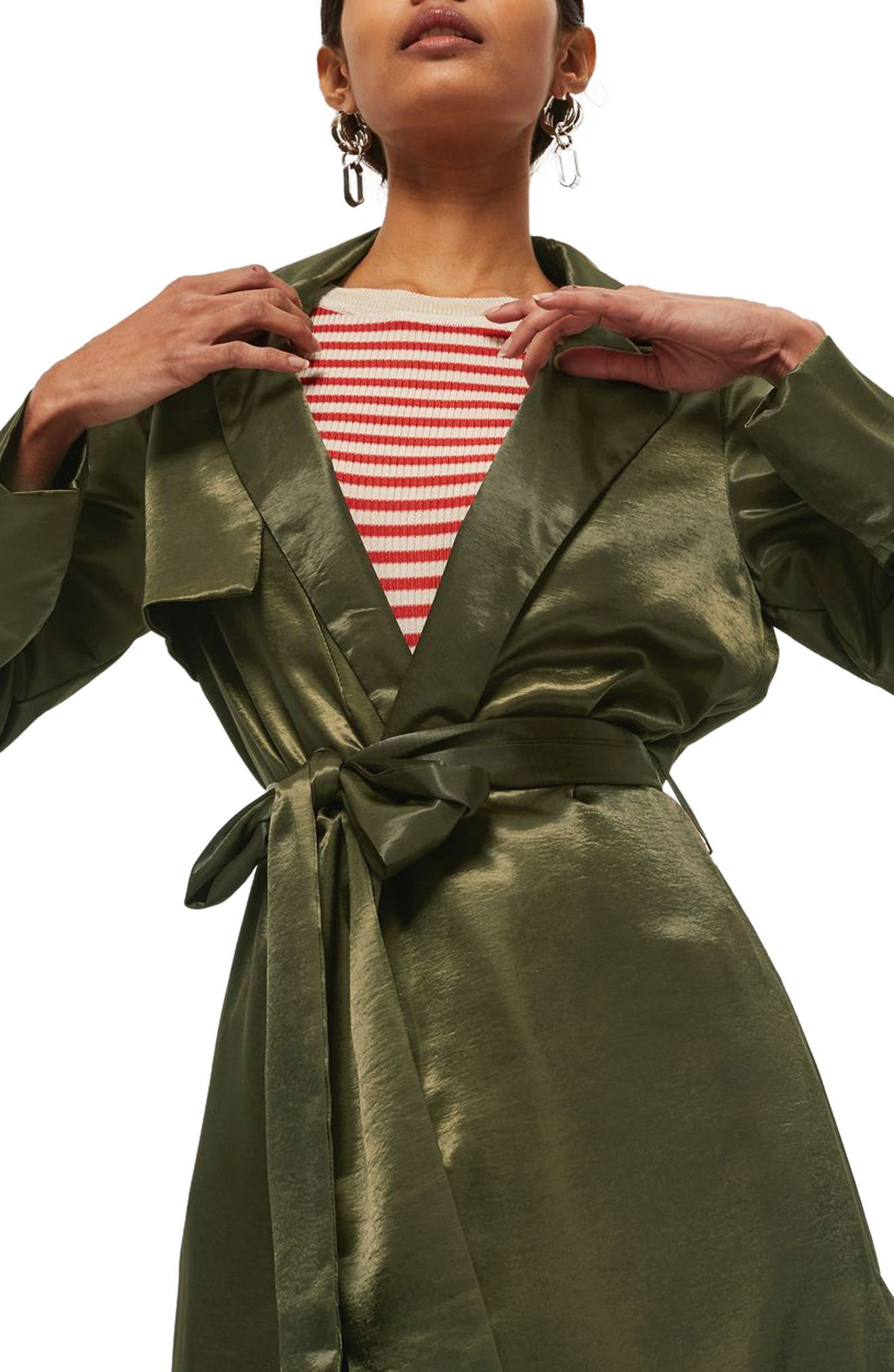 Belted Satin Duster Coat,                             Alternate thumbnail 3, color,