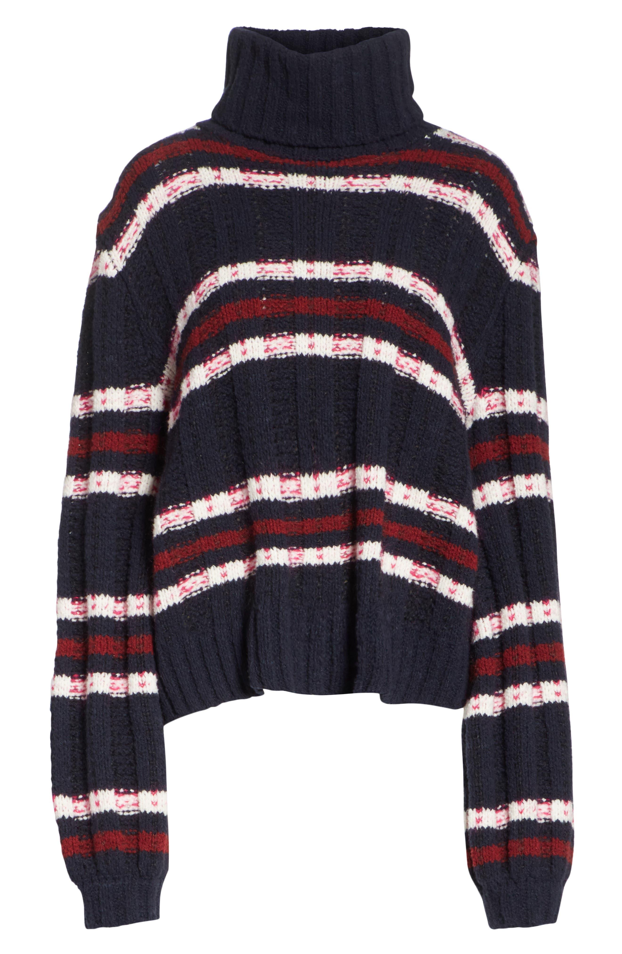 Zaira Stripe Turtleneck Sweater,                             Alternate thumbnail 6, color,                             001