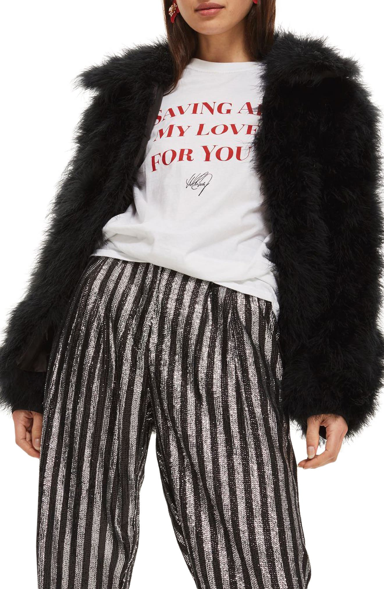 Sequin Stripe Mensy Trousers,                             Alternate thumbnail 3, color,                             001