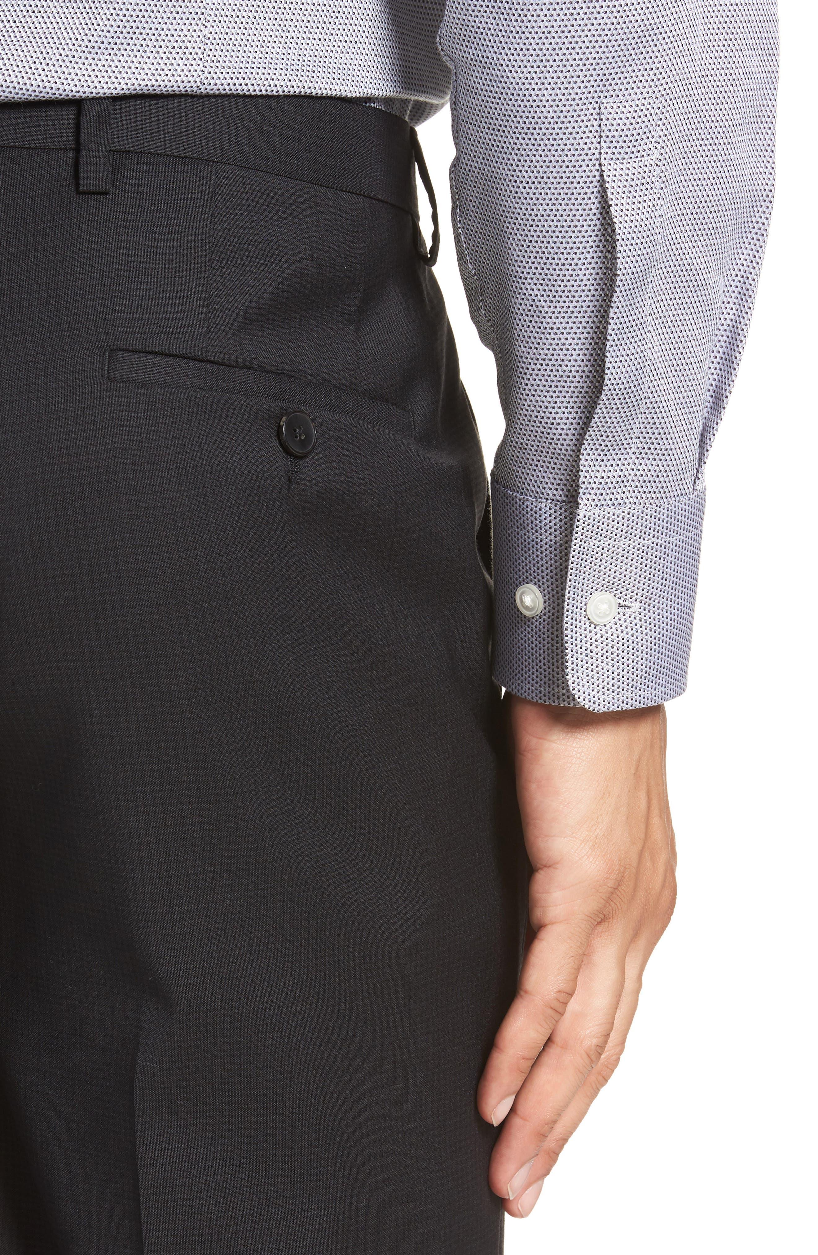 Leenon Flat Front Check Wool Trousers,                             Alternate thumbnail 4, color,                             BLACK