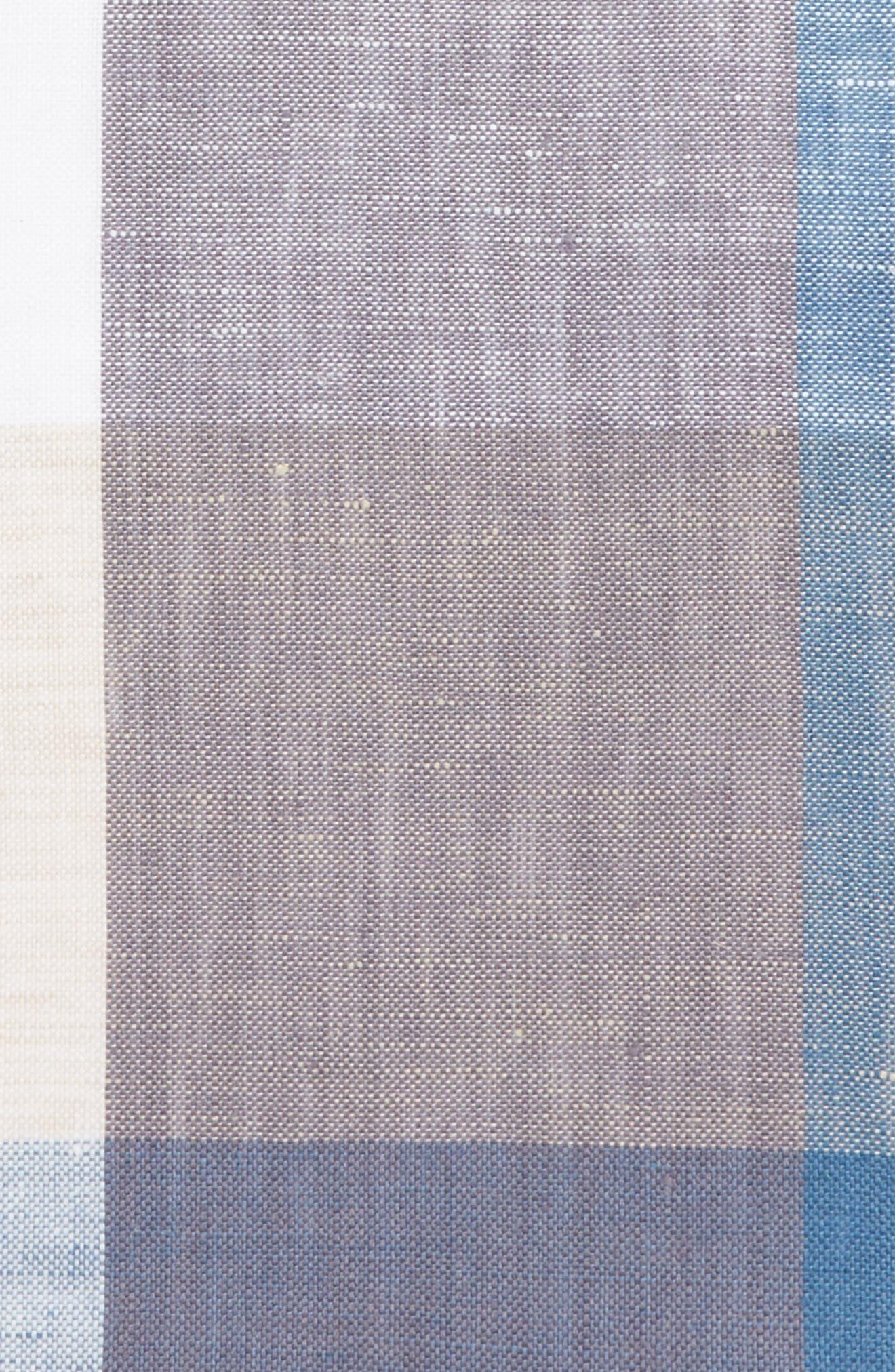Check Linen Pocket Square,                             Alternate thumbnail 3, color,                             020