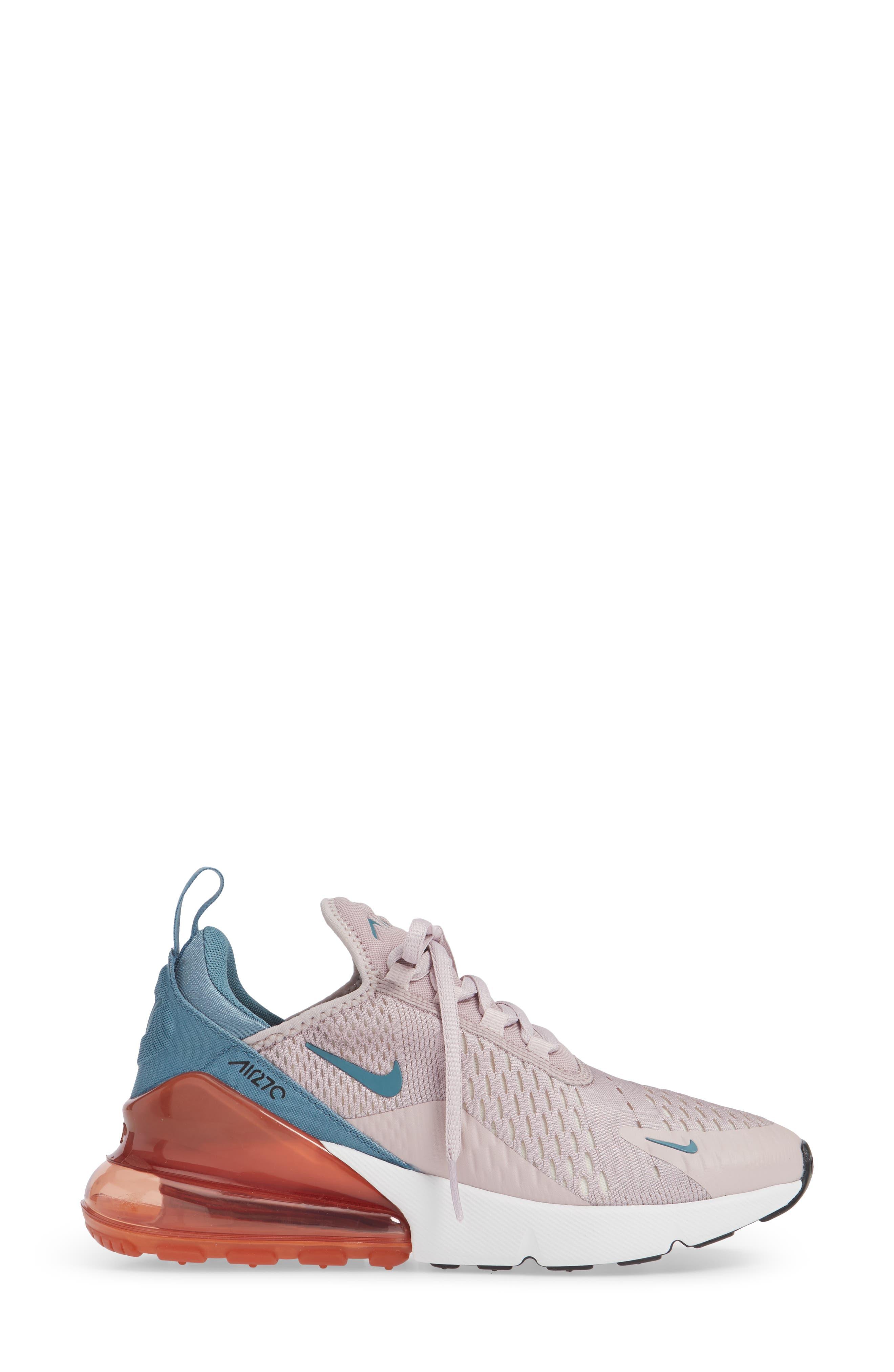 Air Max 270 Premium Sneaker,                             Alternate thumbnail 3, color,                             PARTICLE ROSE/ CELESTIAL TEAL
