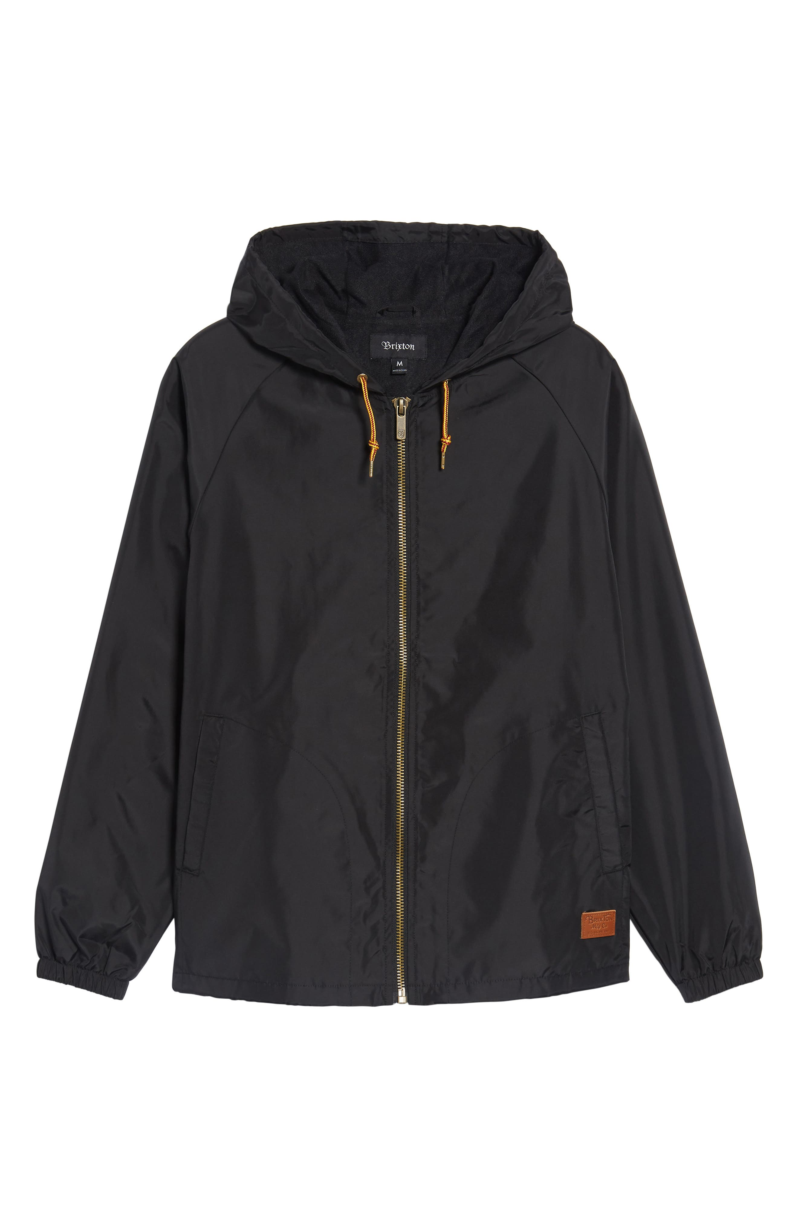 Claxton Water Repellent Hooded Windbreaker,                             Alternate thumbnail 5, color,                             001