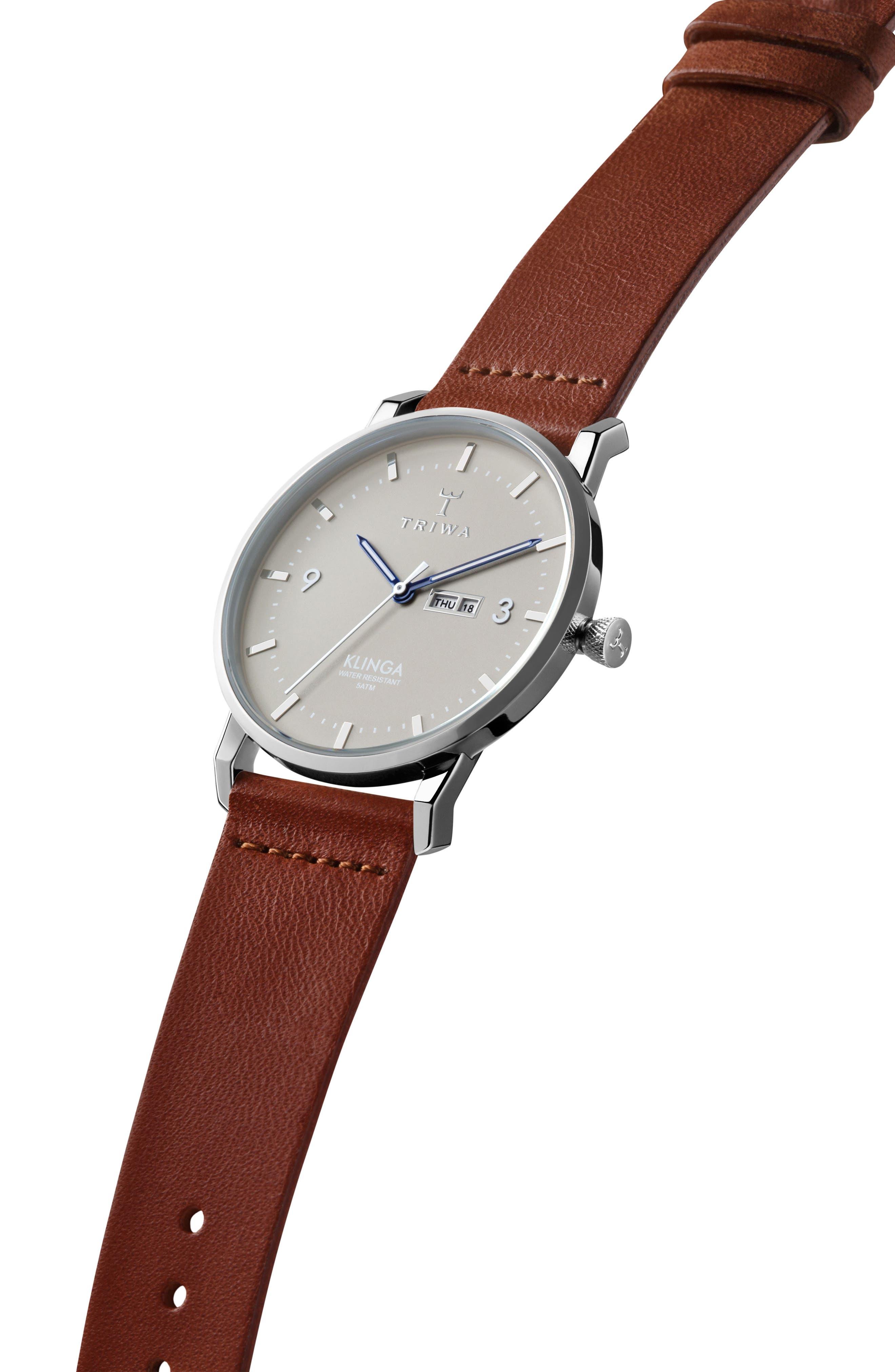 Mist Klinga Leather Strap Watch, 38mm,                             Alternate thumbnail 2, color,                             COGNAC/ SILVER