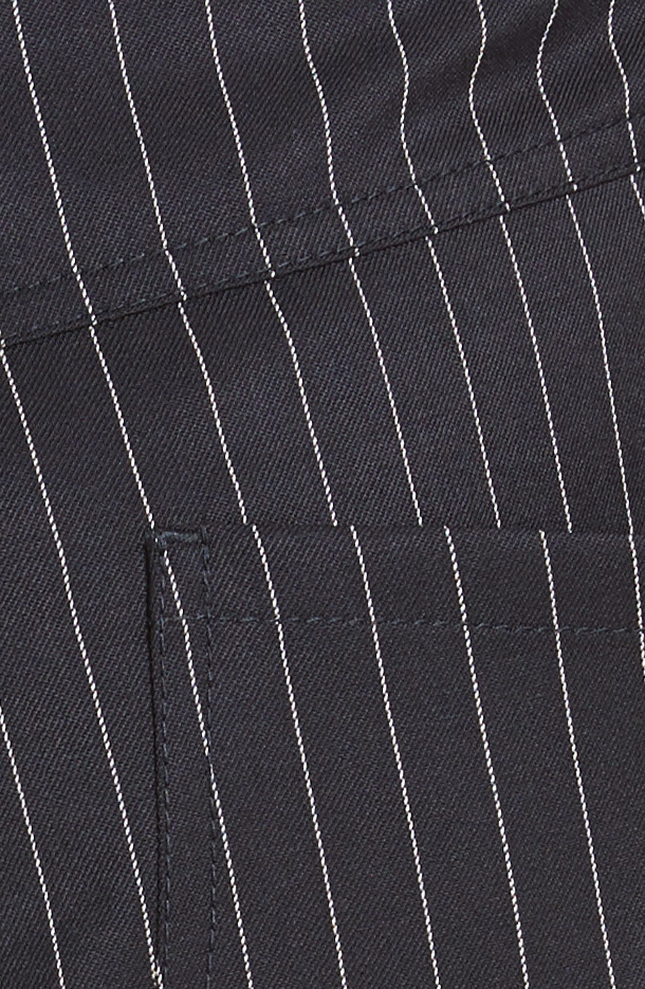 Ruched Pinstripe Trousers,                             Alternate thumbnail 5, color,                             010