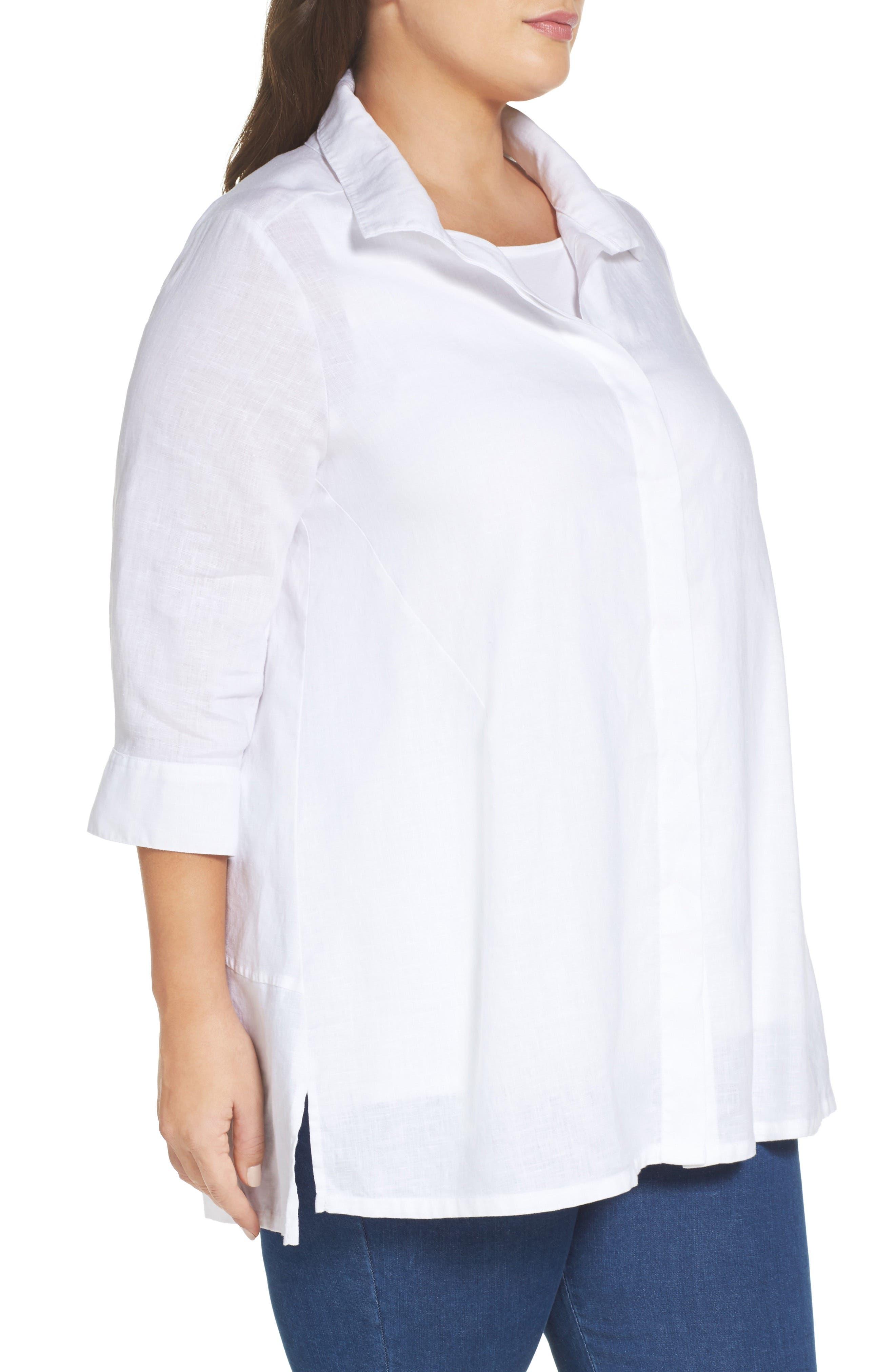 Skye Linen Tunic Shirt,                             Alternate thumbnail 3, color,                             100