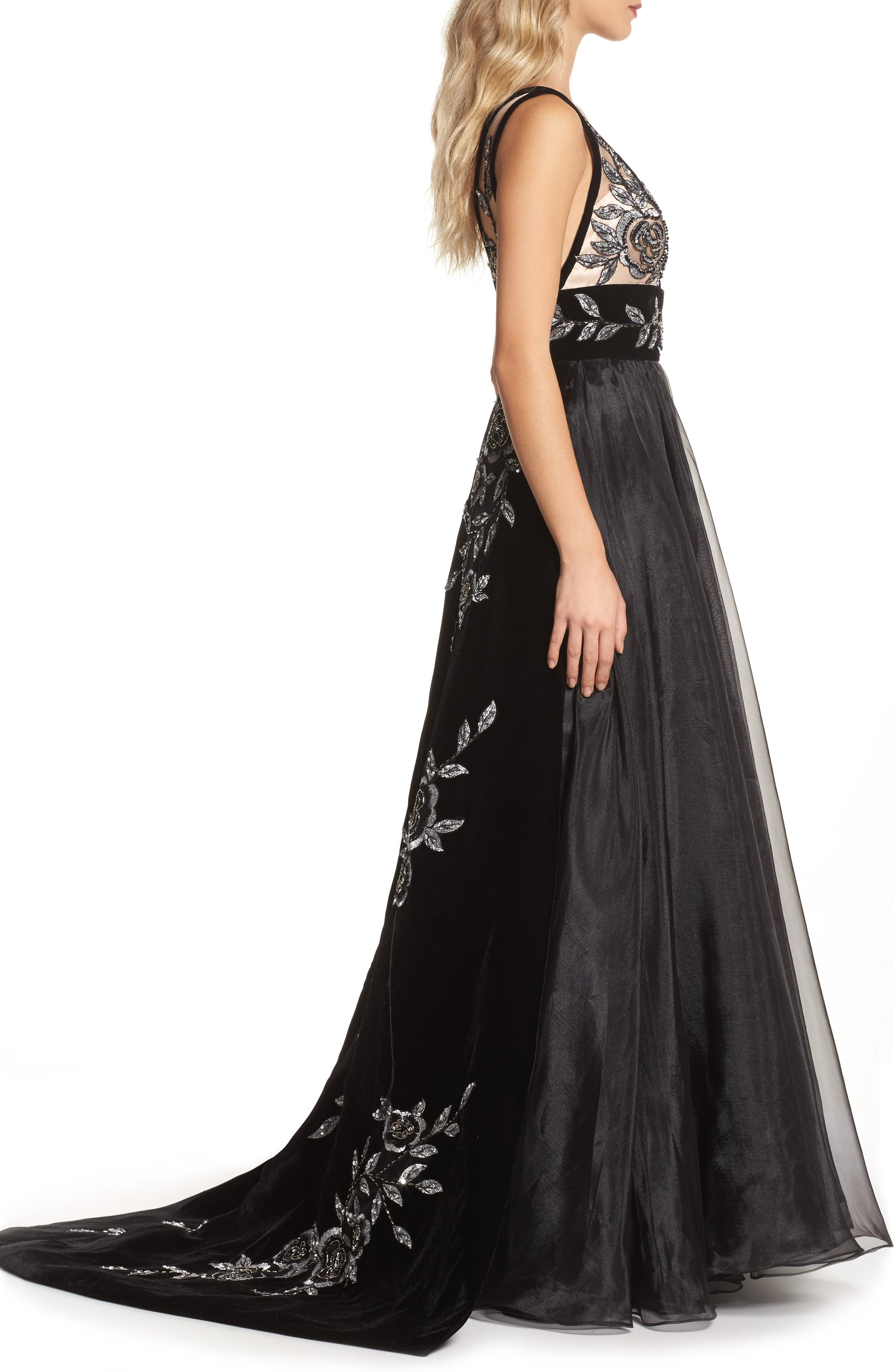 Embroidered Plunge Neck Ballgown,                             Alternate thumbnail 3, color,                             BLACK