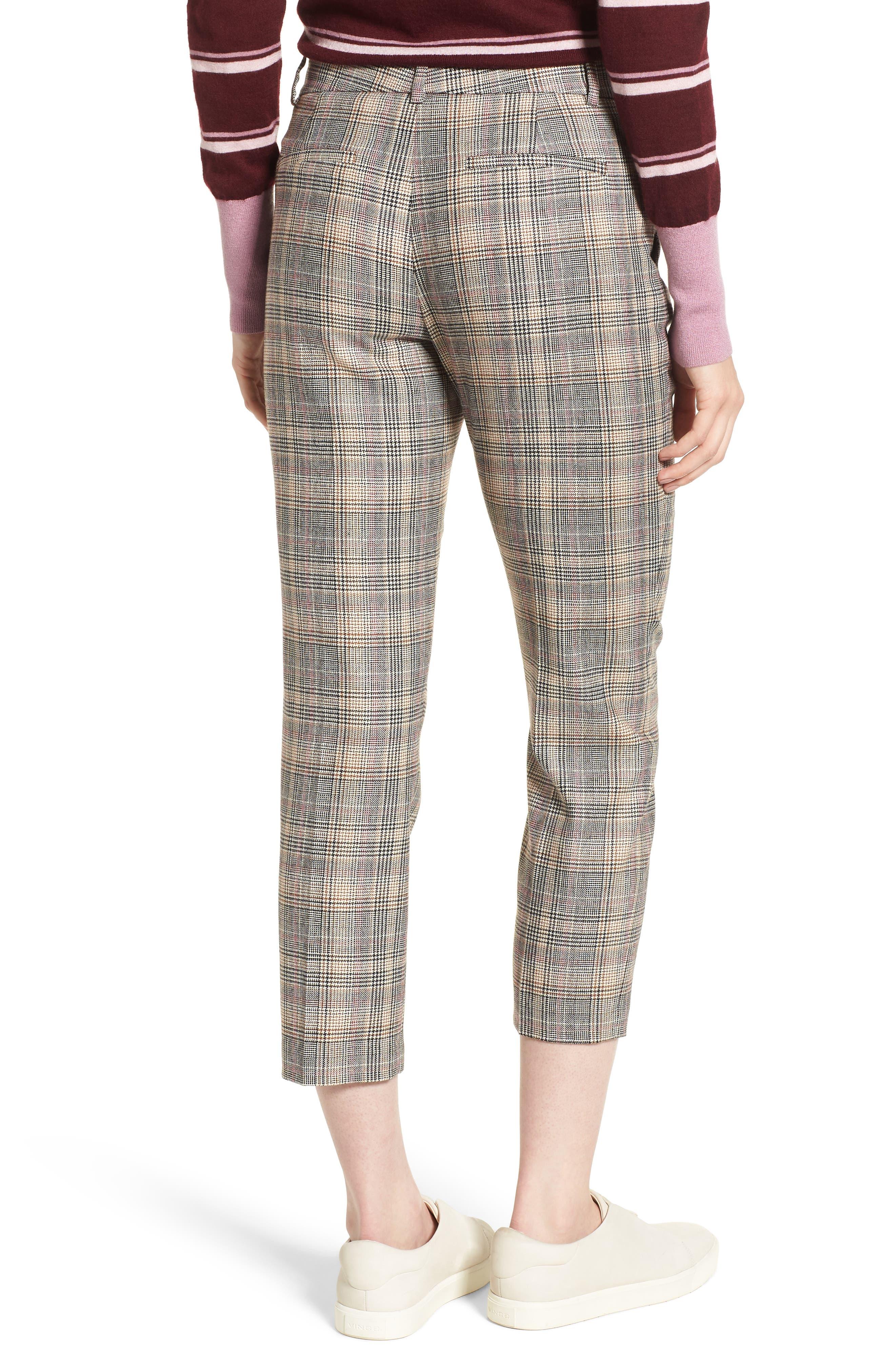 Plaid Slim Leg Crop Pants,                             Alternate thumbnail 2, color,                             001