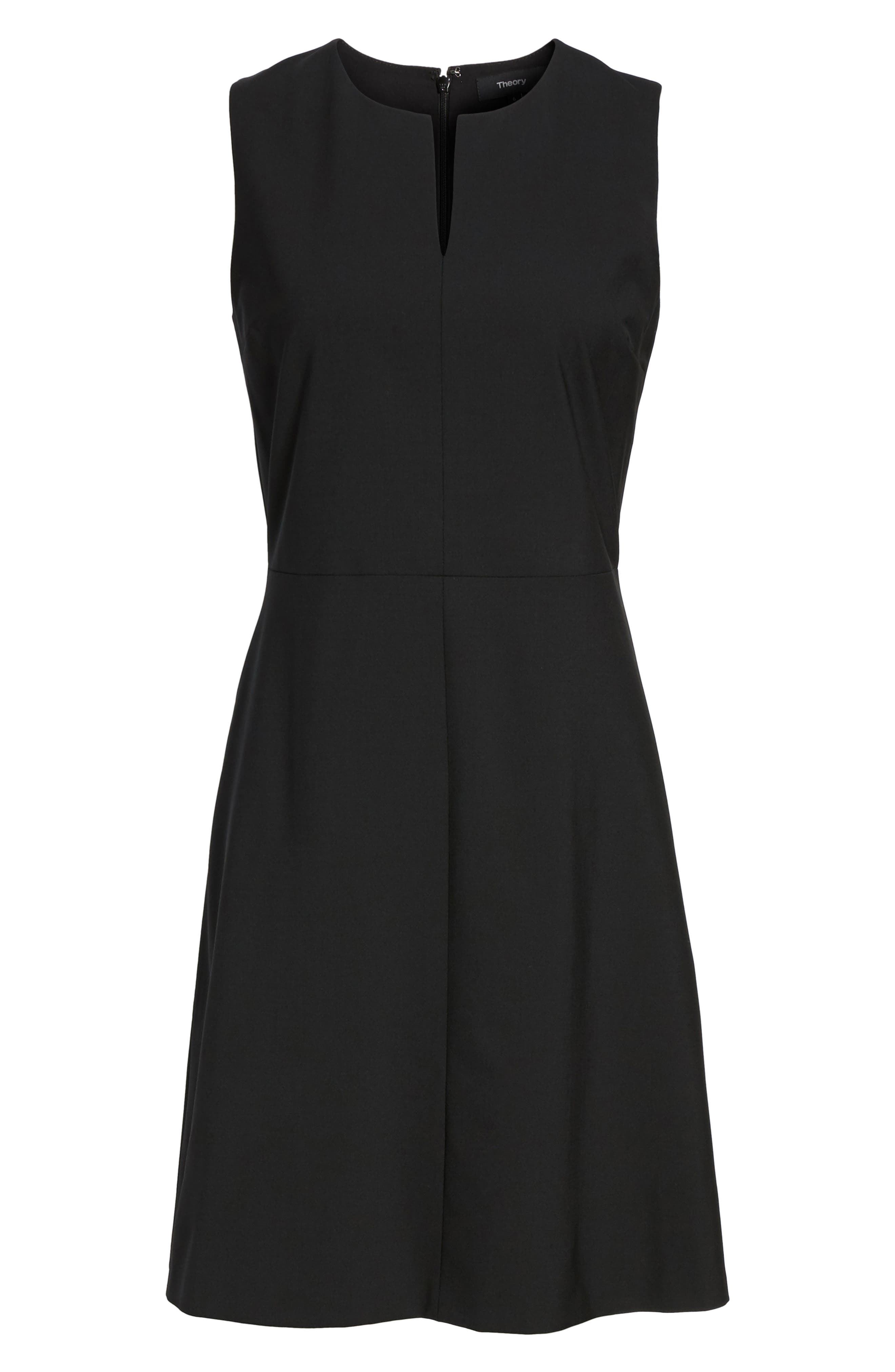 'Miyani' Stretch Wool Fit & Flare Dress, Main, color, 001