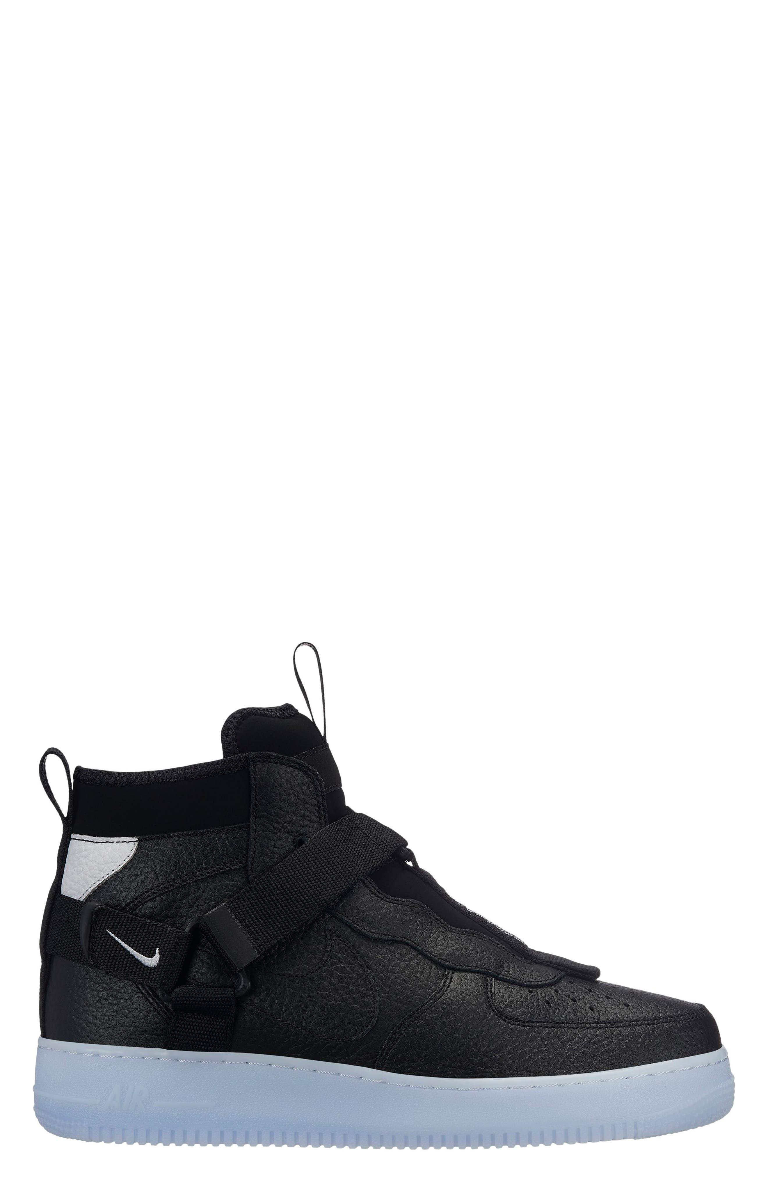 Air Force 1 Utility Mid Sneaker,                             Main thumbnail 1, color,                             BLACK/ HALF BLUE/ WHITE