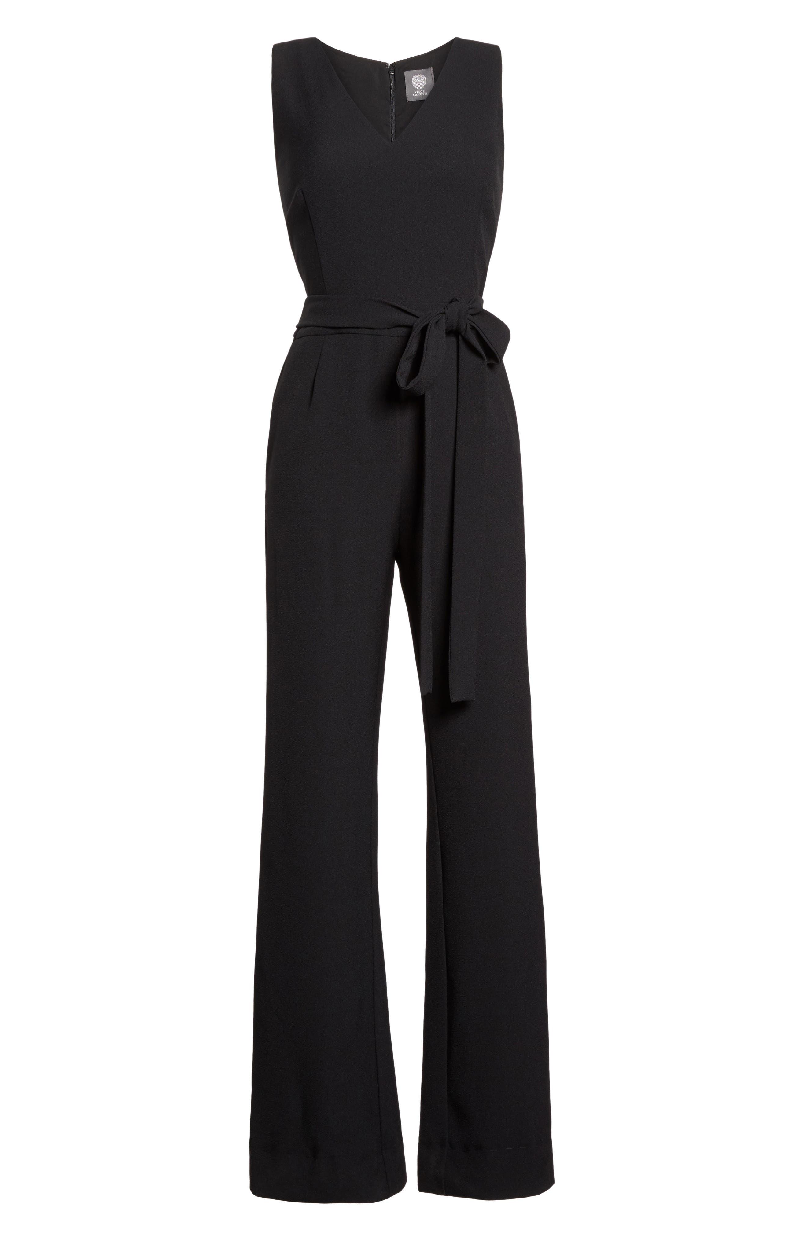 VINCE CAMUTO,                             Tie Front Wide Leg Jumpsuit,                             Alternate thumbnail 7, color,                             BLACK