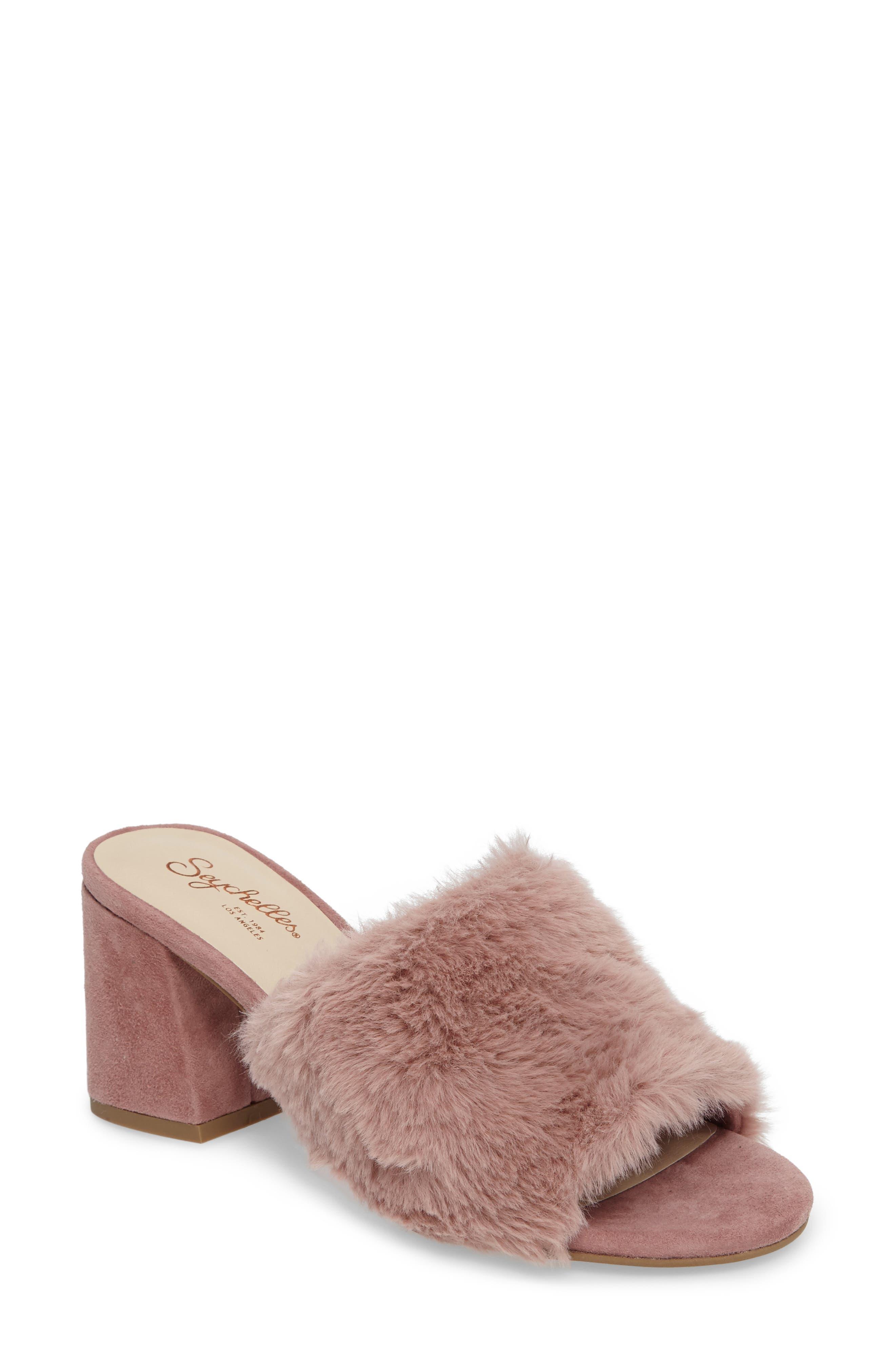 Nobody Else Faux Fur Slide Sandal,                             Main thumbnail 2, color,