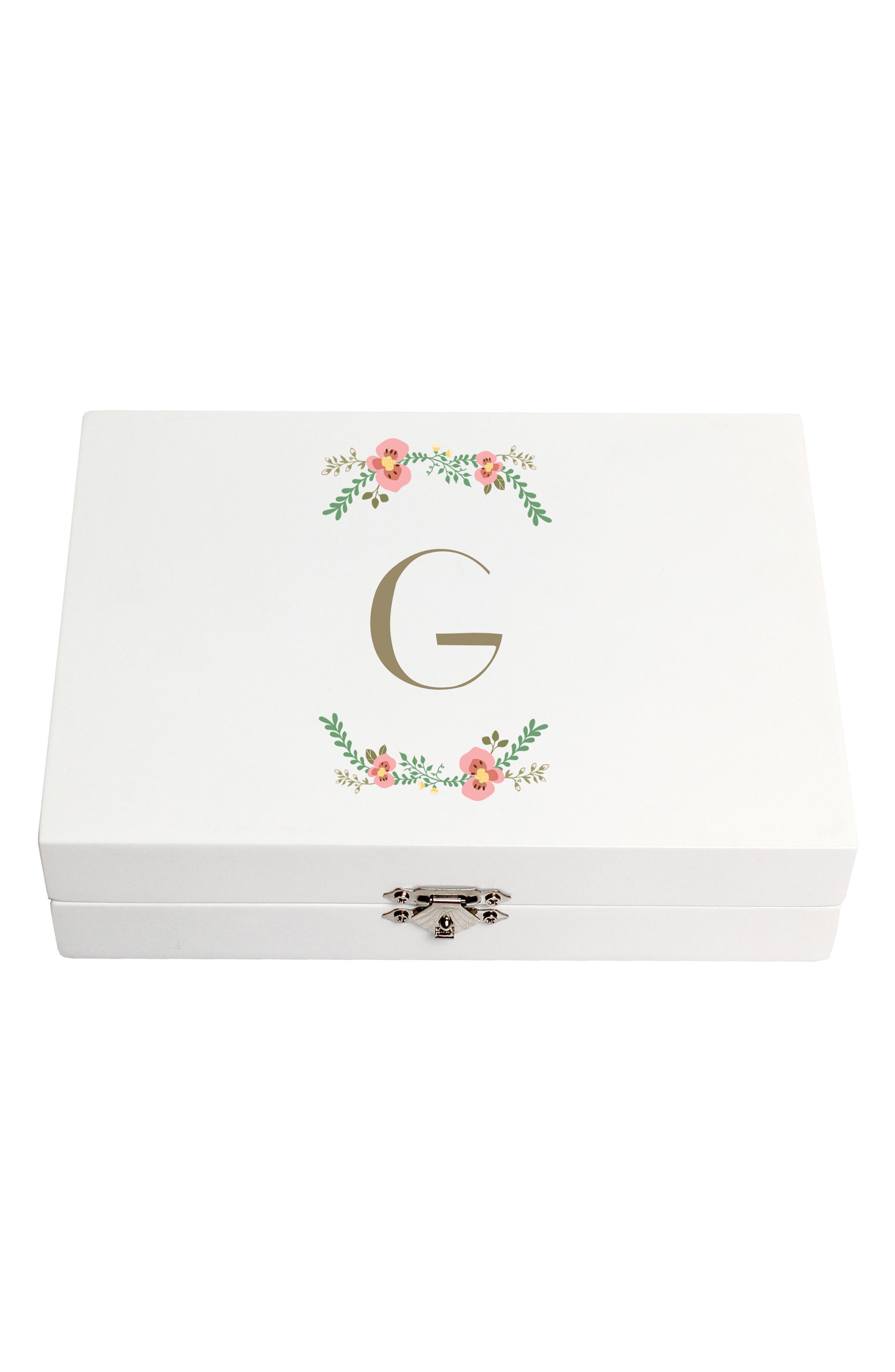 Monogram Floral Wedding Ring Box,                             Main thumbnail 7, color,